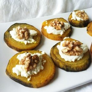 Golden Beet Slices with Goat Cheese and Walnuts