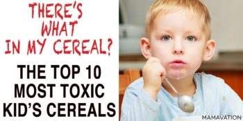 photo of boy and the words Top 10 Most Toxic Kid's Cereals