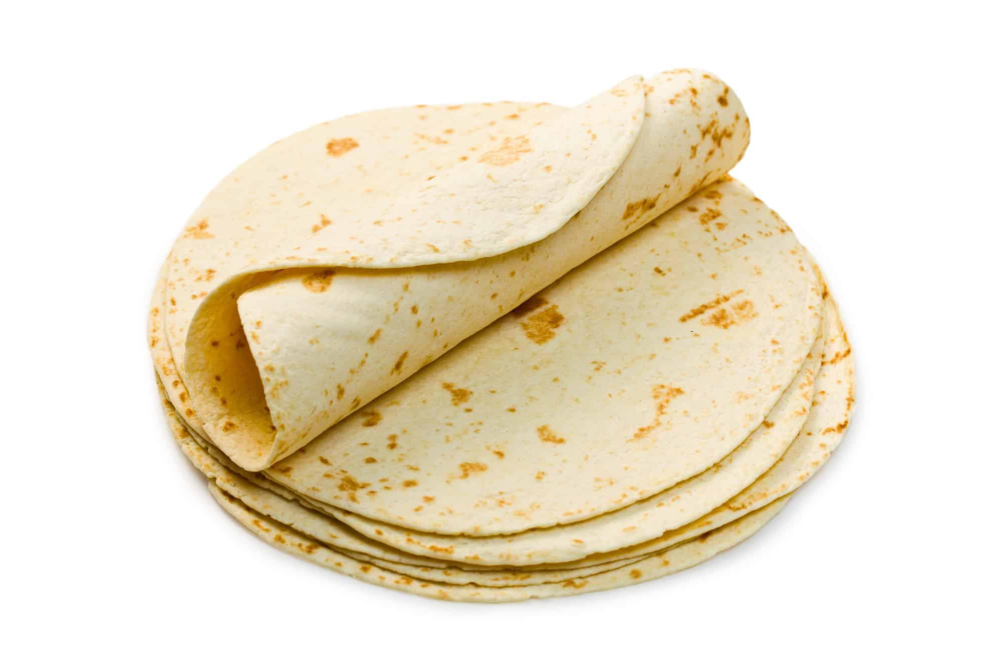flour tortillas on white background