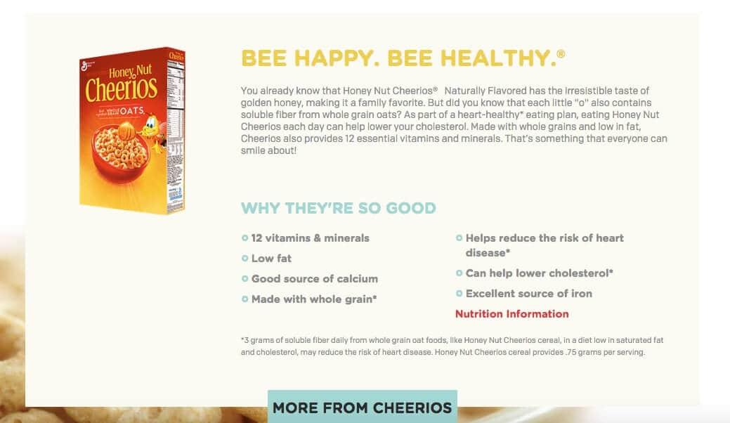Screenshot from Cheerios.com