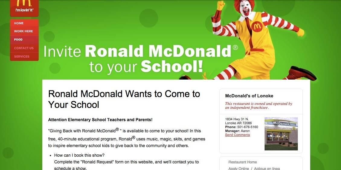 Ronald McDonald in School