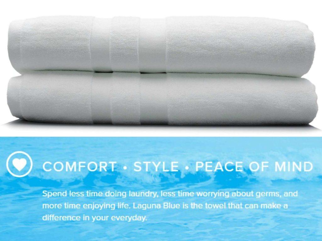 laguna-blue-towels-text-image, earth-friendly towels
