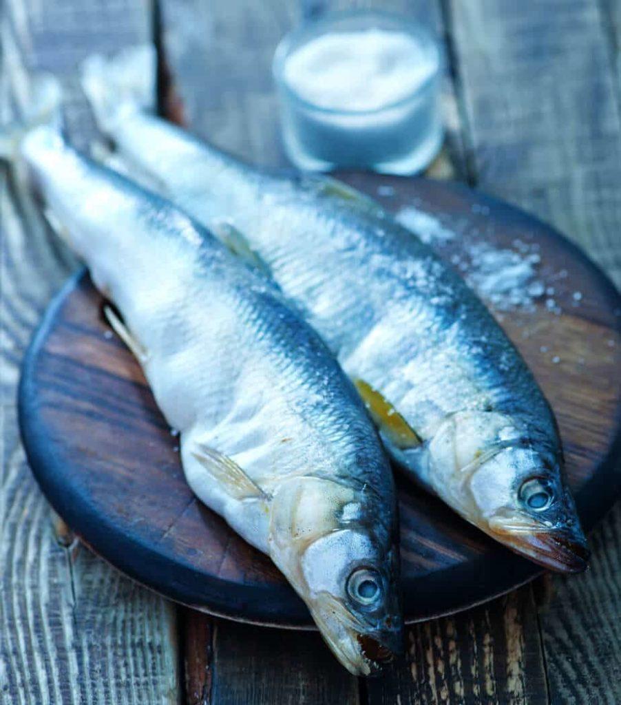 fresh fish on a cutting board