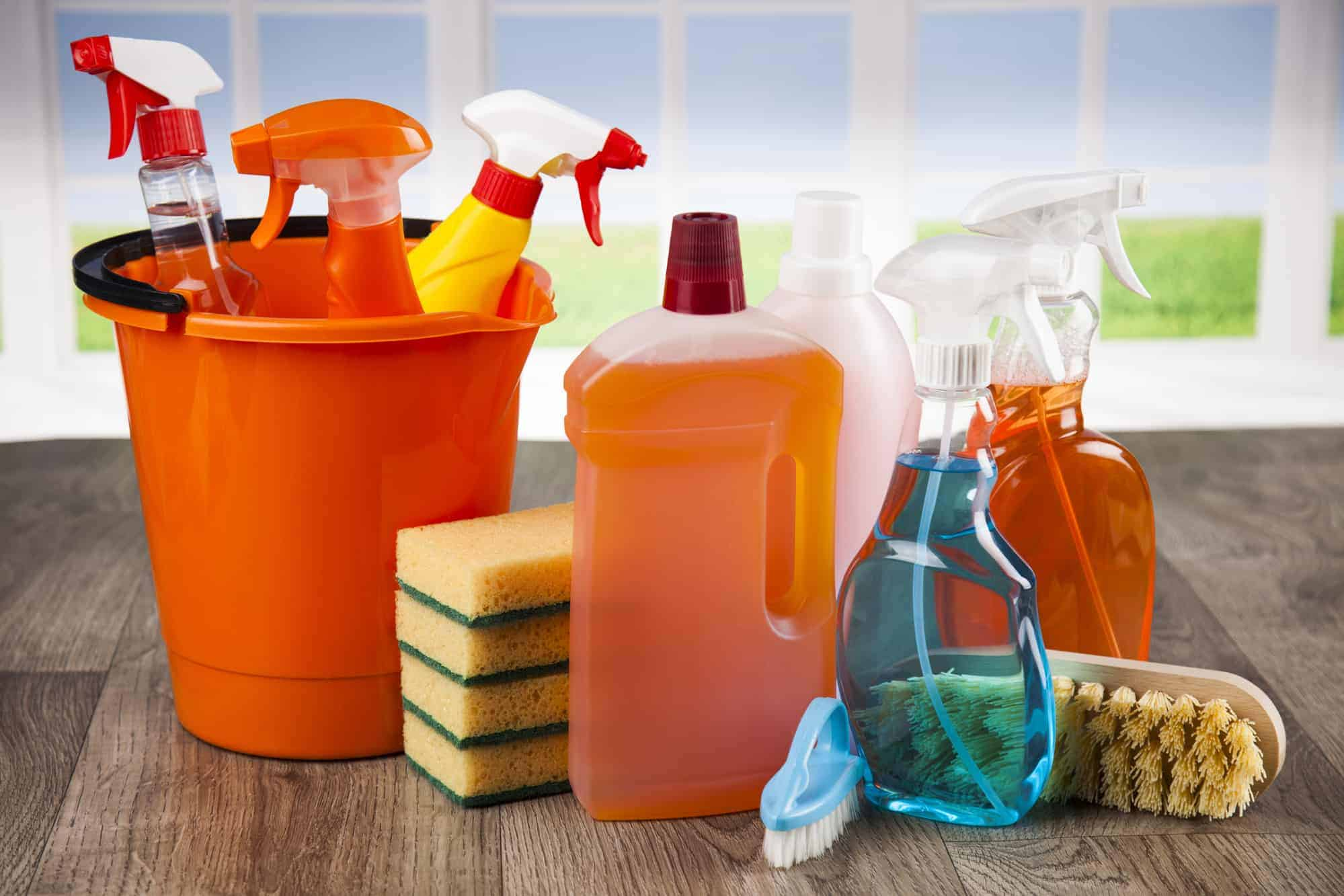 House cleaning product and window background