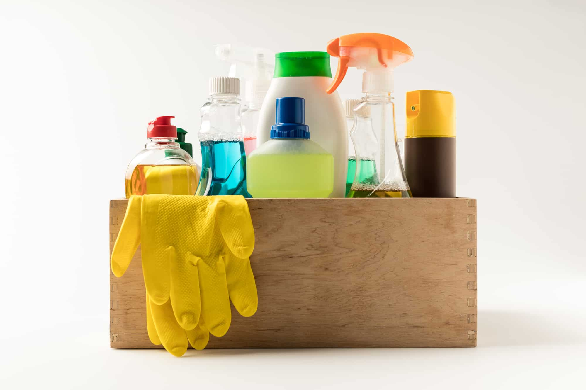 non-toxic cleaning products in a wooden box