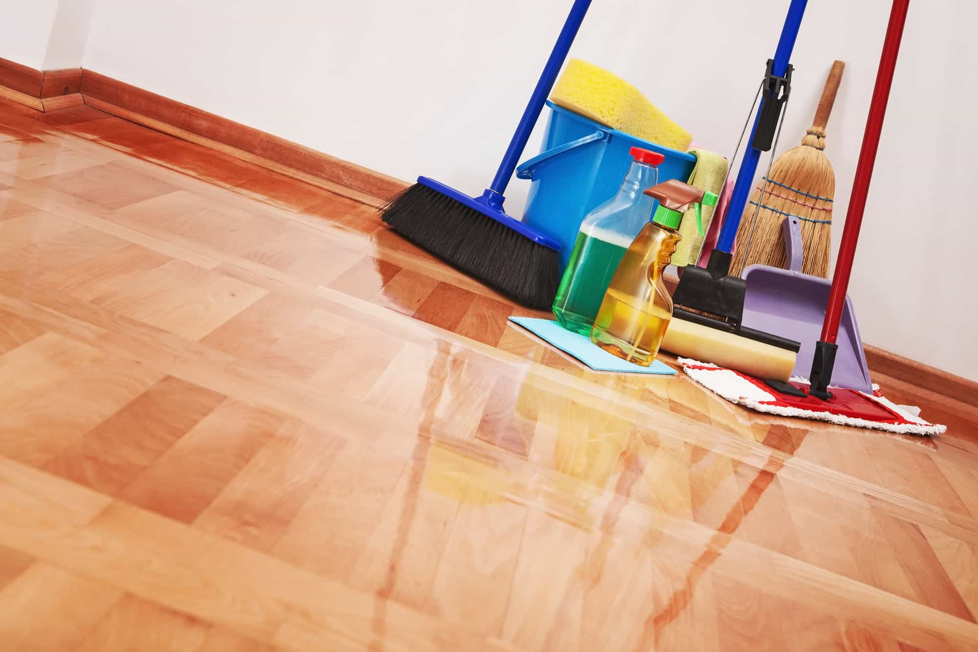non-toxic cleaning products on the floor