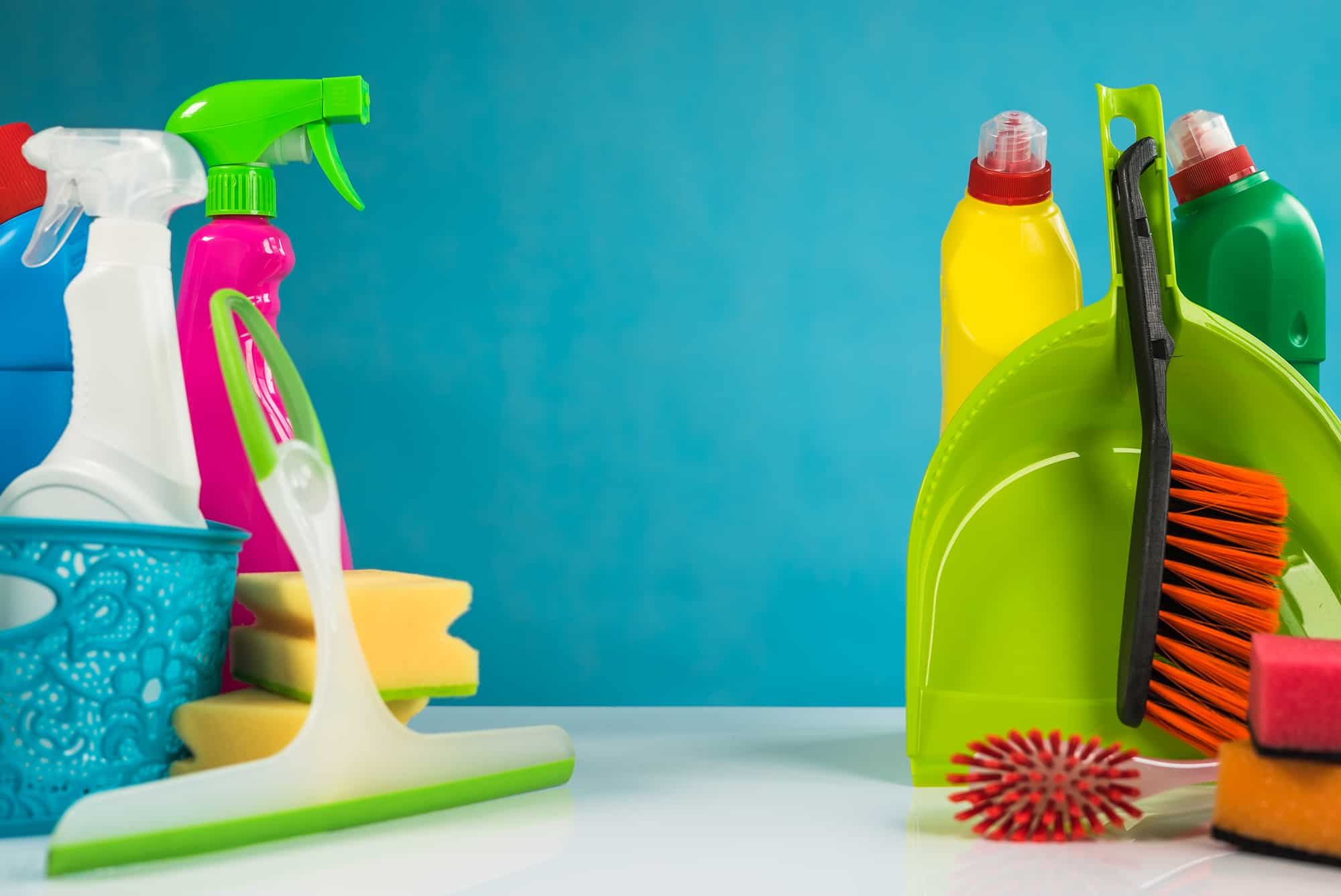 cleaning products against a blue background