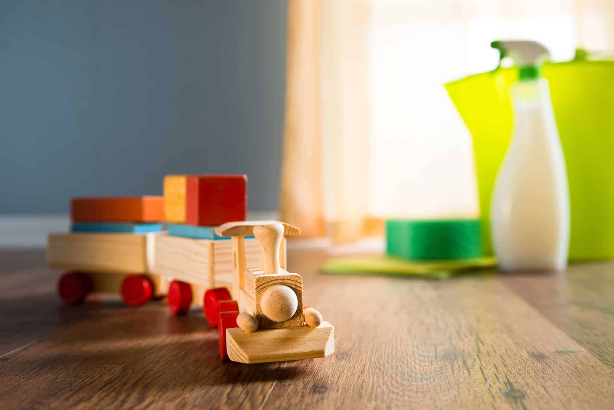 Wooden toy train with non-toxic cleaning products