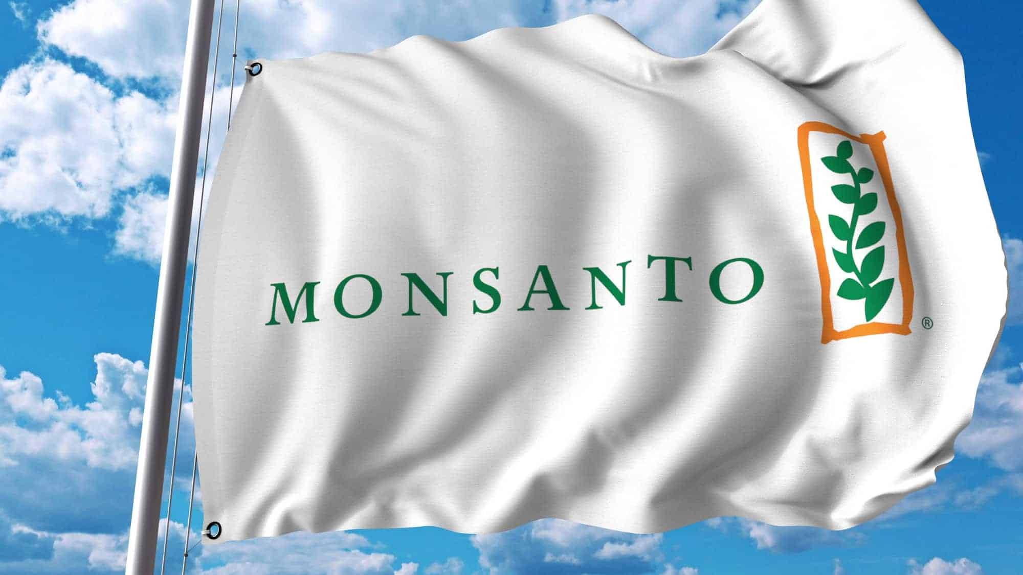 Waving flag with Monsanto logo. Editorial 3D