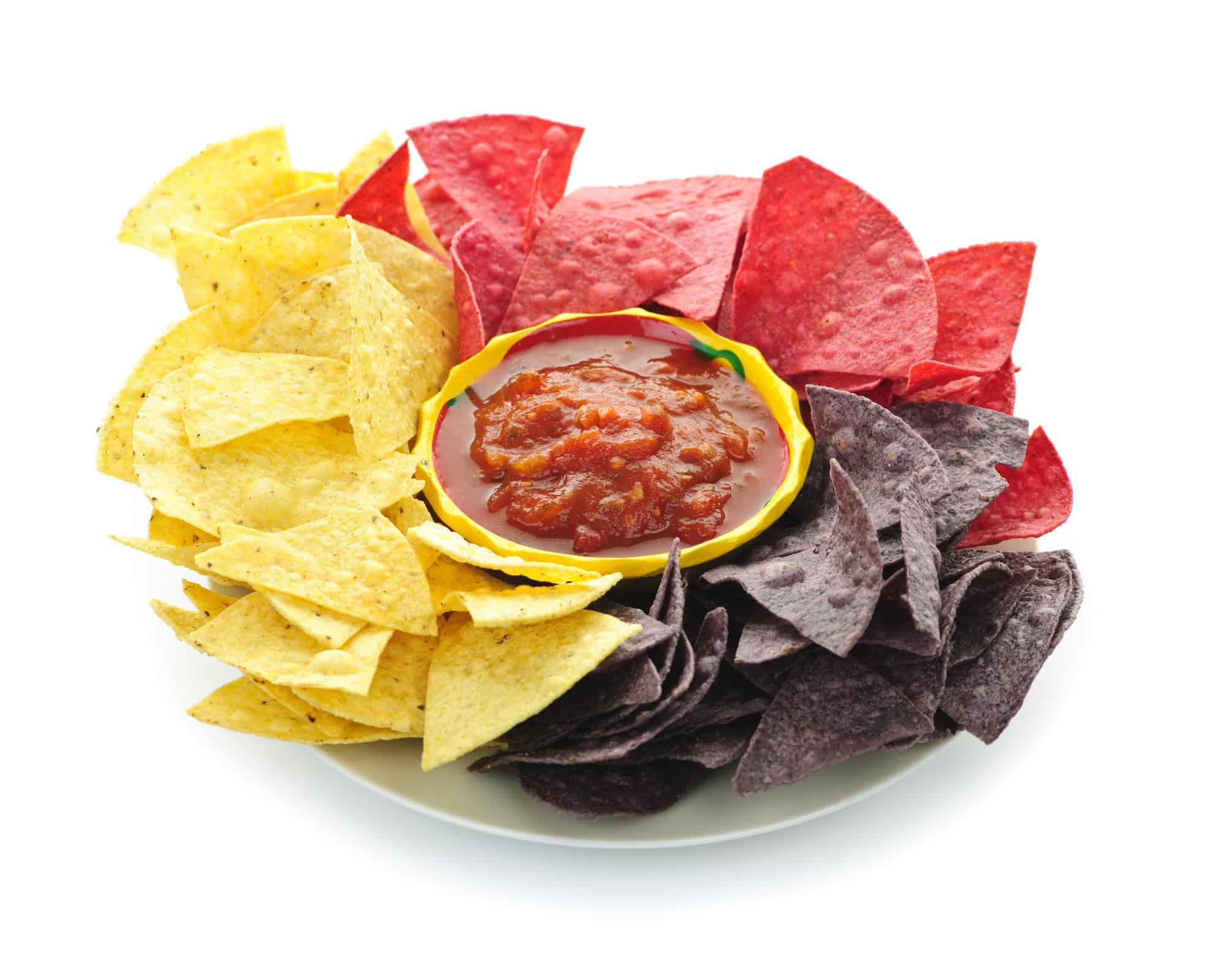 Bowl of salsa with colorful tortilla chips
