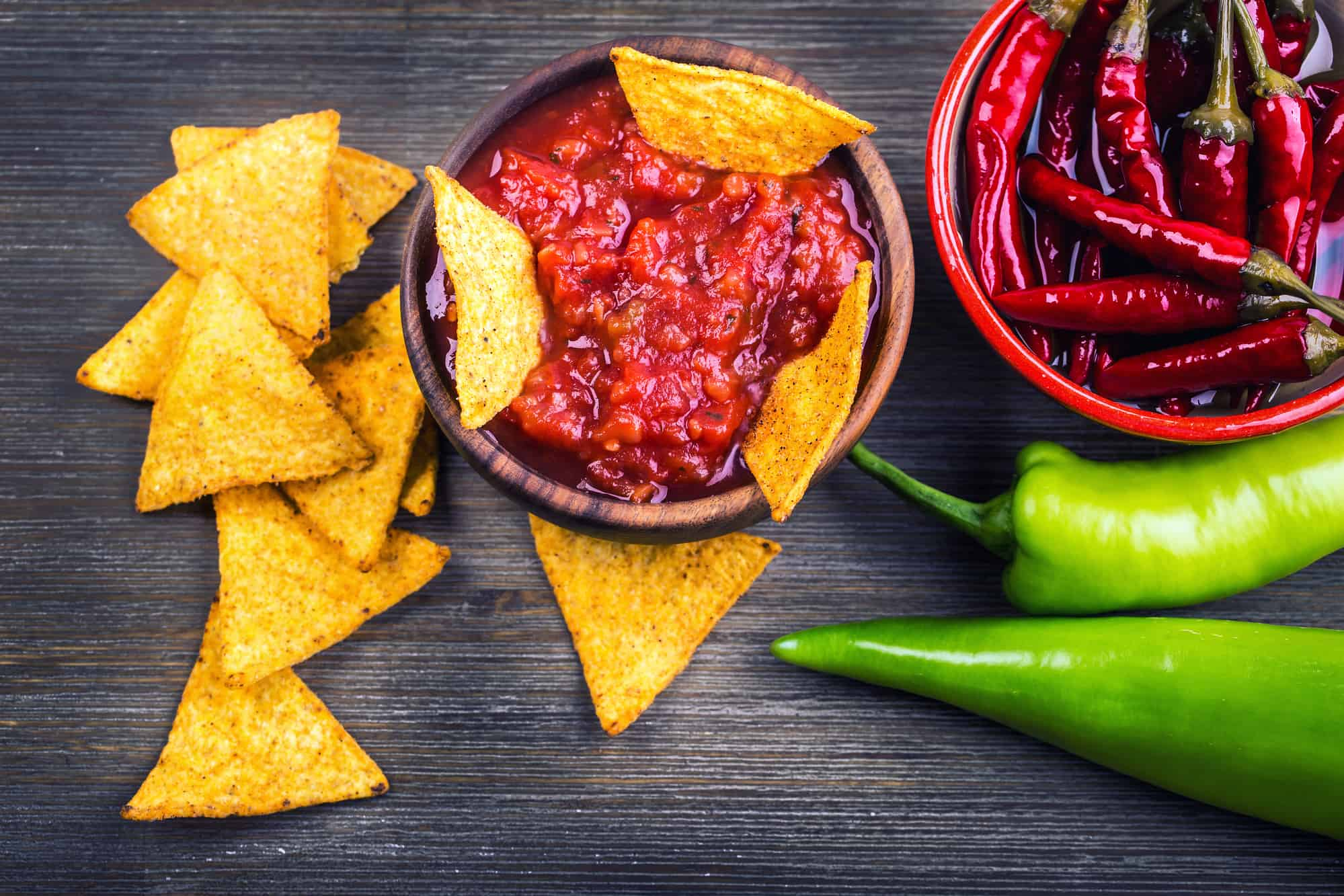 Chips & salsa with hot peppers