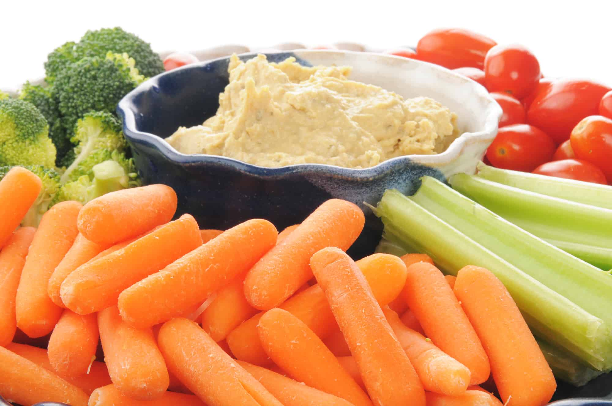 vegetable platter with Greek style hummus