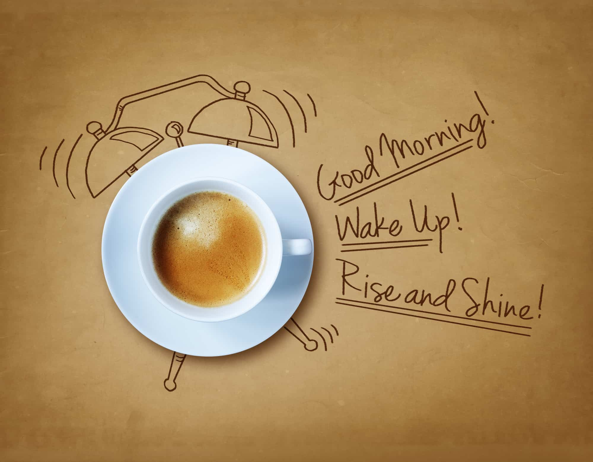 Good morning coffee and alarm clock