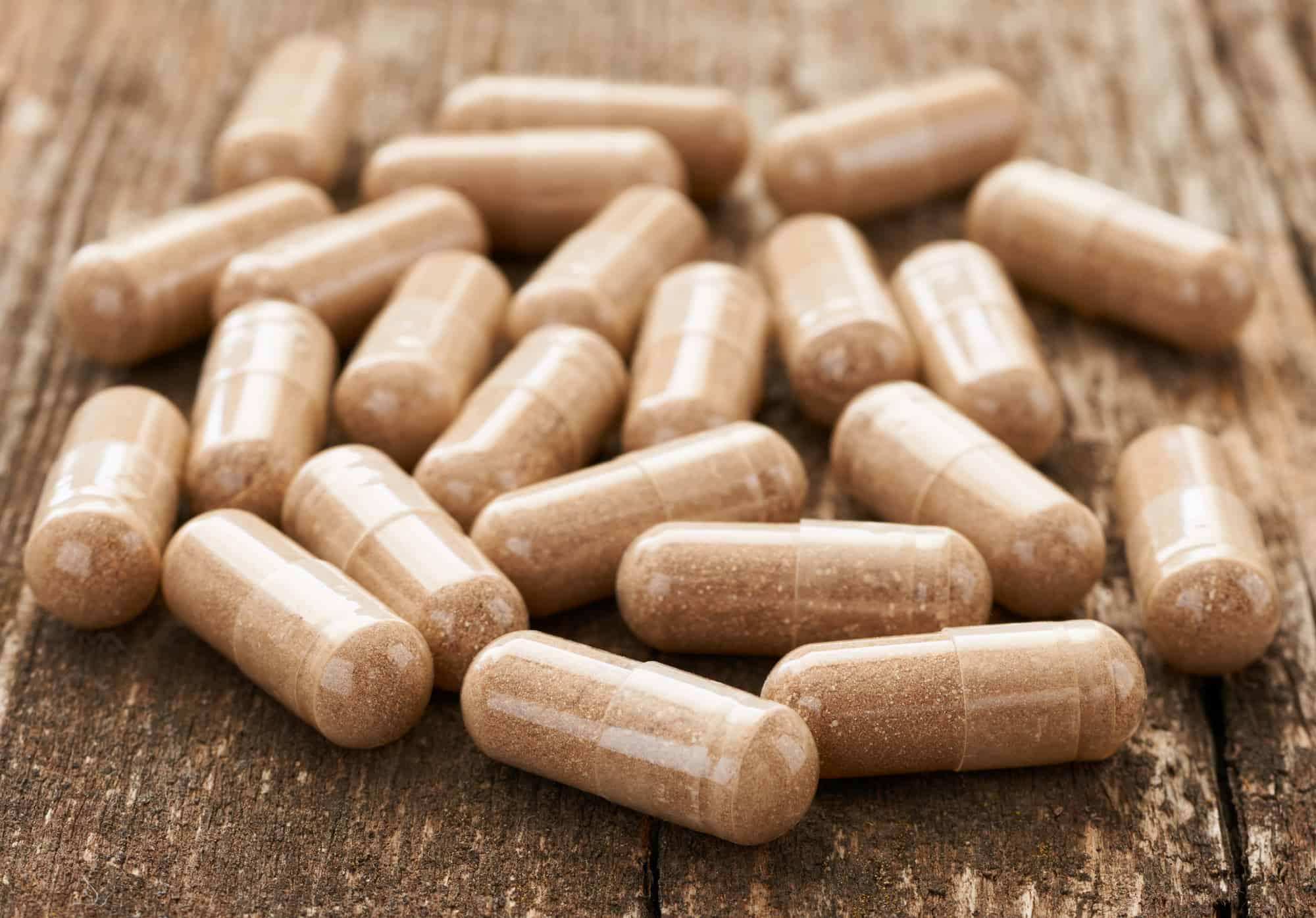 probiotics on wood table