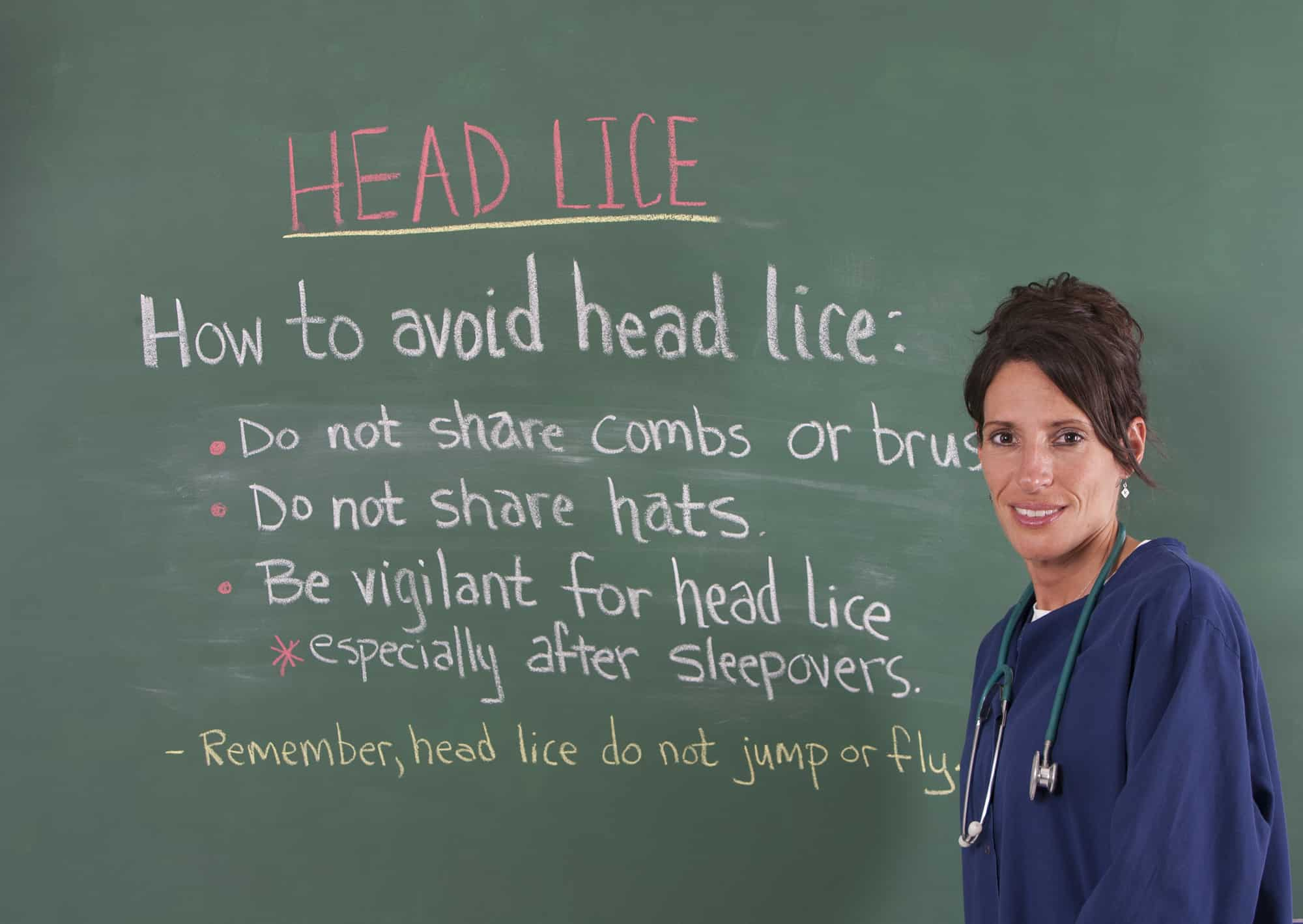 School nurse teaching about head lice