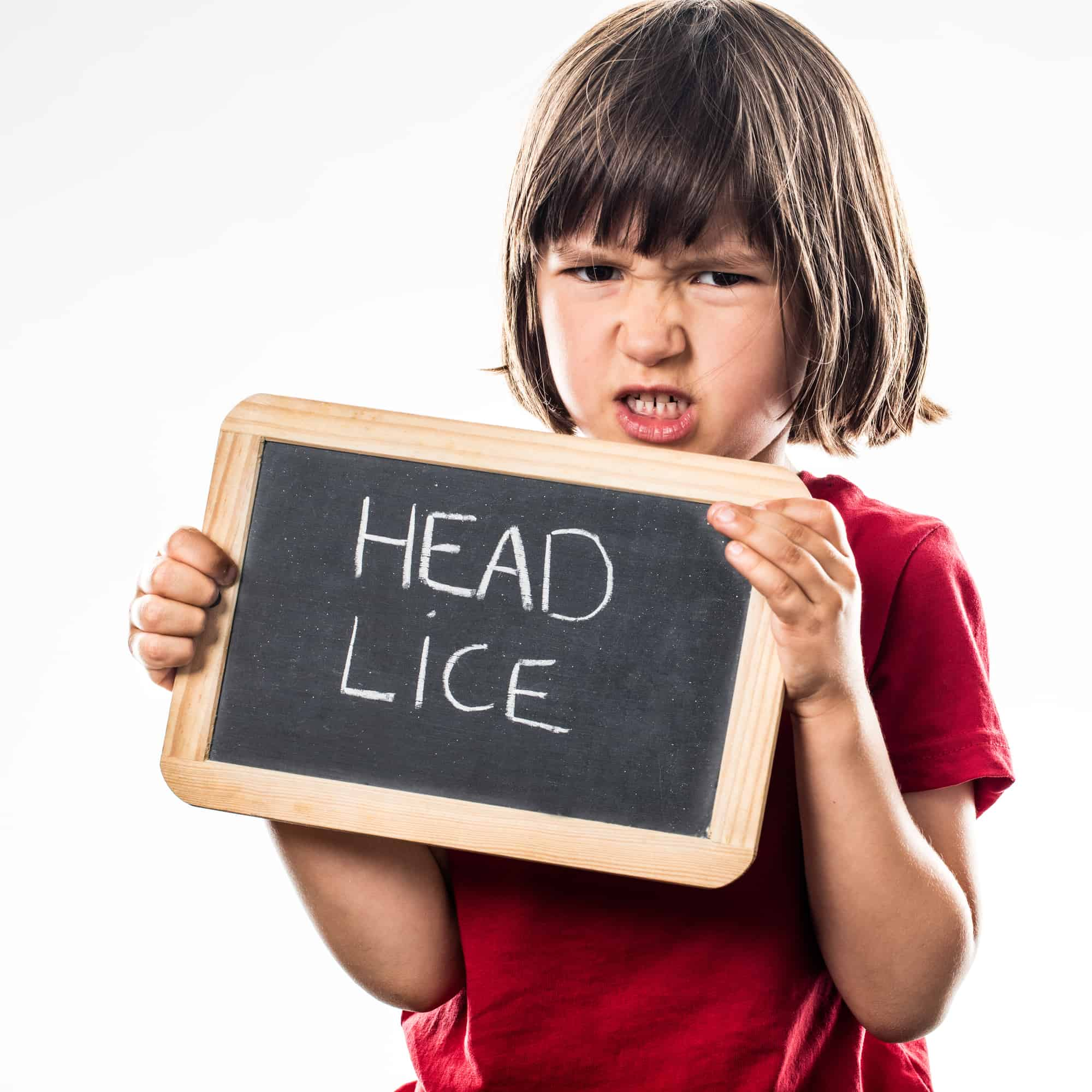 angry young child holding a school slate as a protection shield against head lice