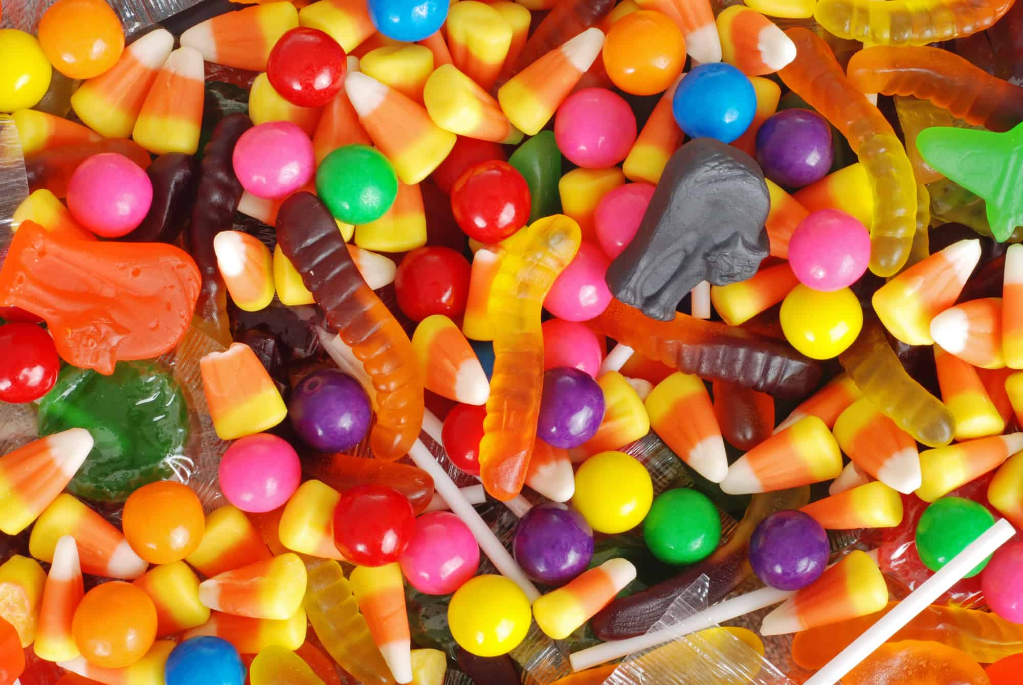 Halloween candy on the table