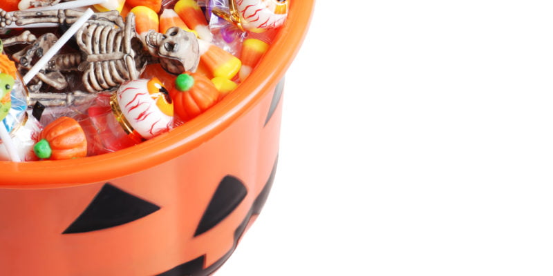 Halloween Candy in a plastic pumpkin