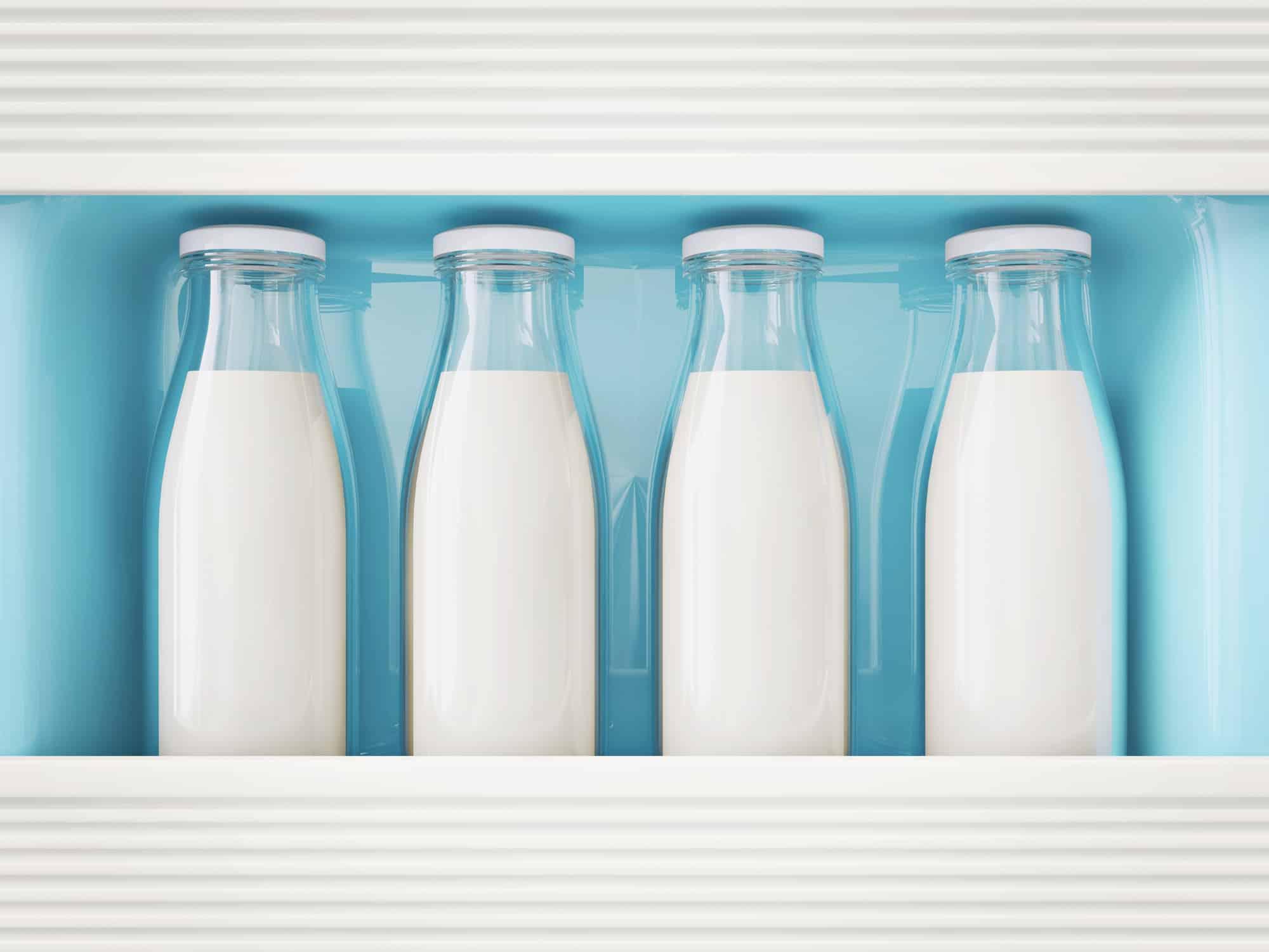 milk in glass bottle stay in a refrigerator