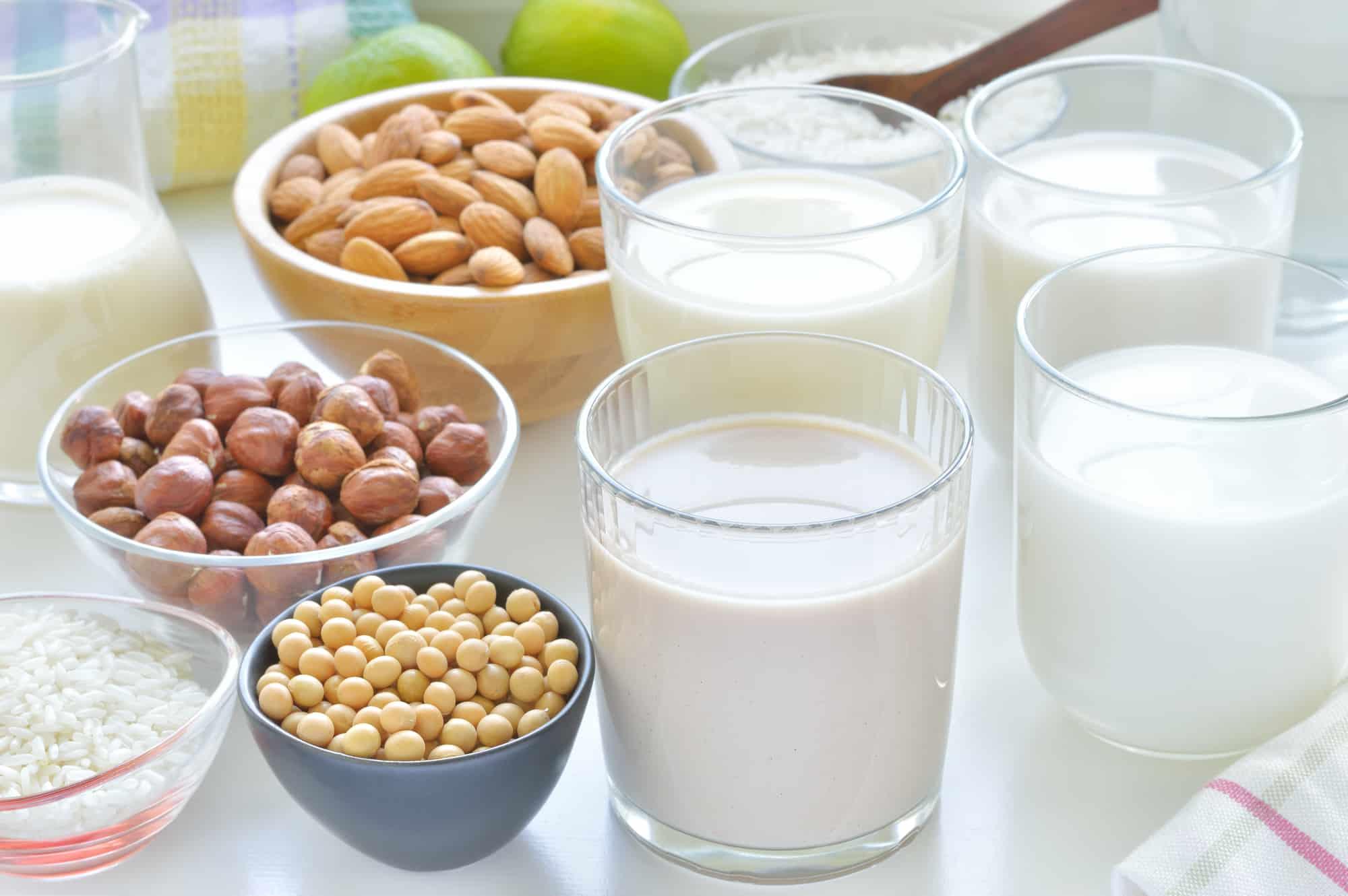 Different vegan milks on a table. Hazelnut, rice, soya and almond milk.