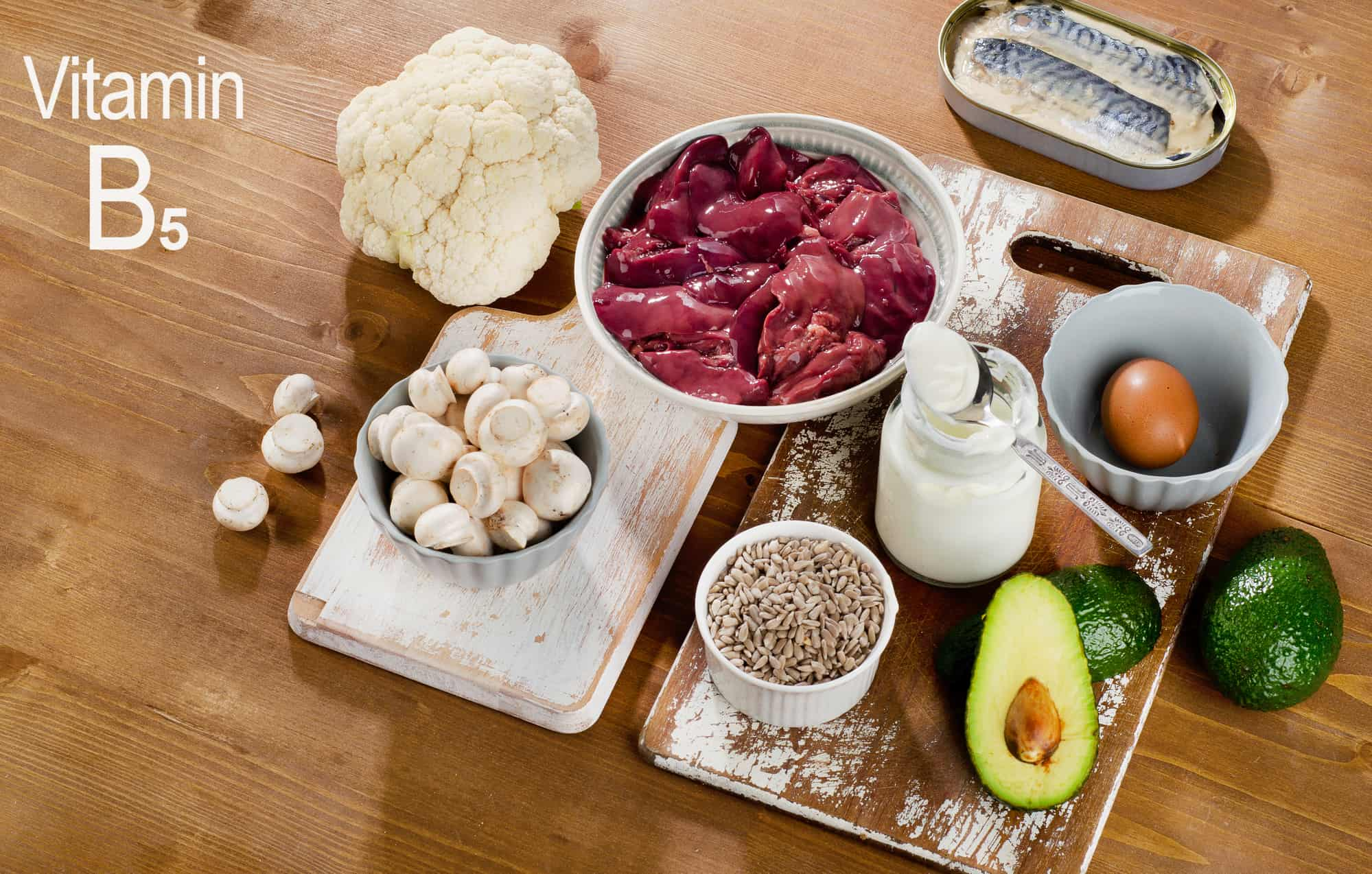 Foods Highest in Vitamin B5 (Pantothenic Acid) on wooden board