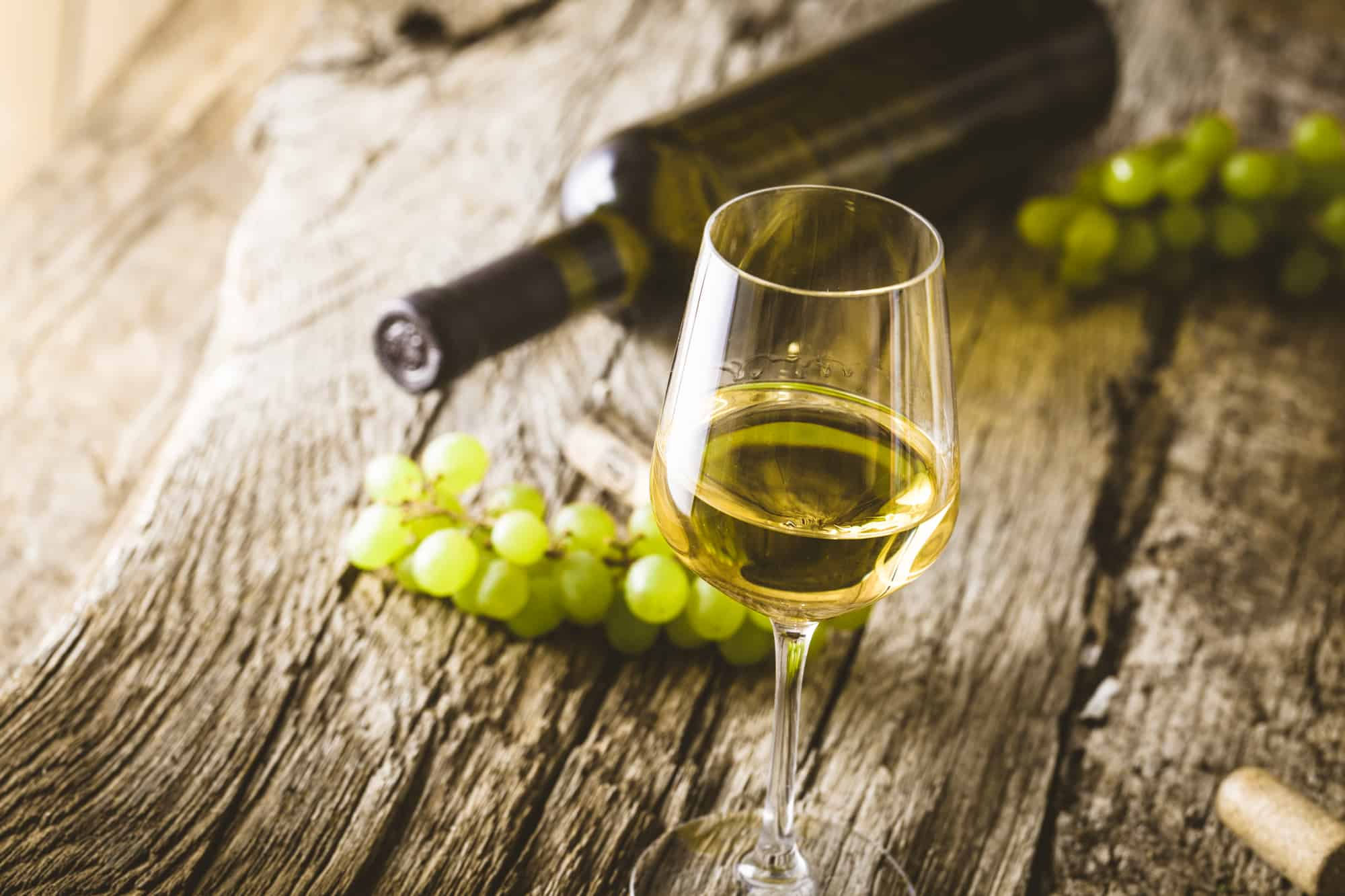 Wine. Glass of white wine in wine cellar. Old white wine on wood