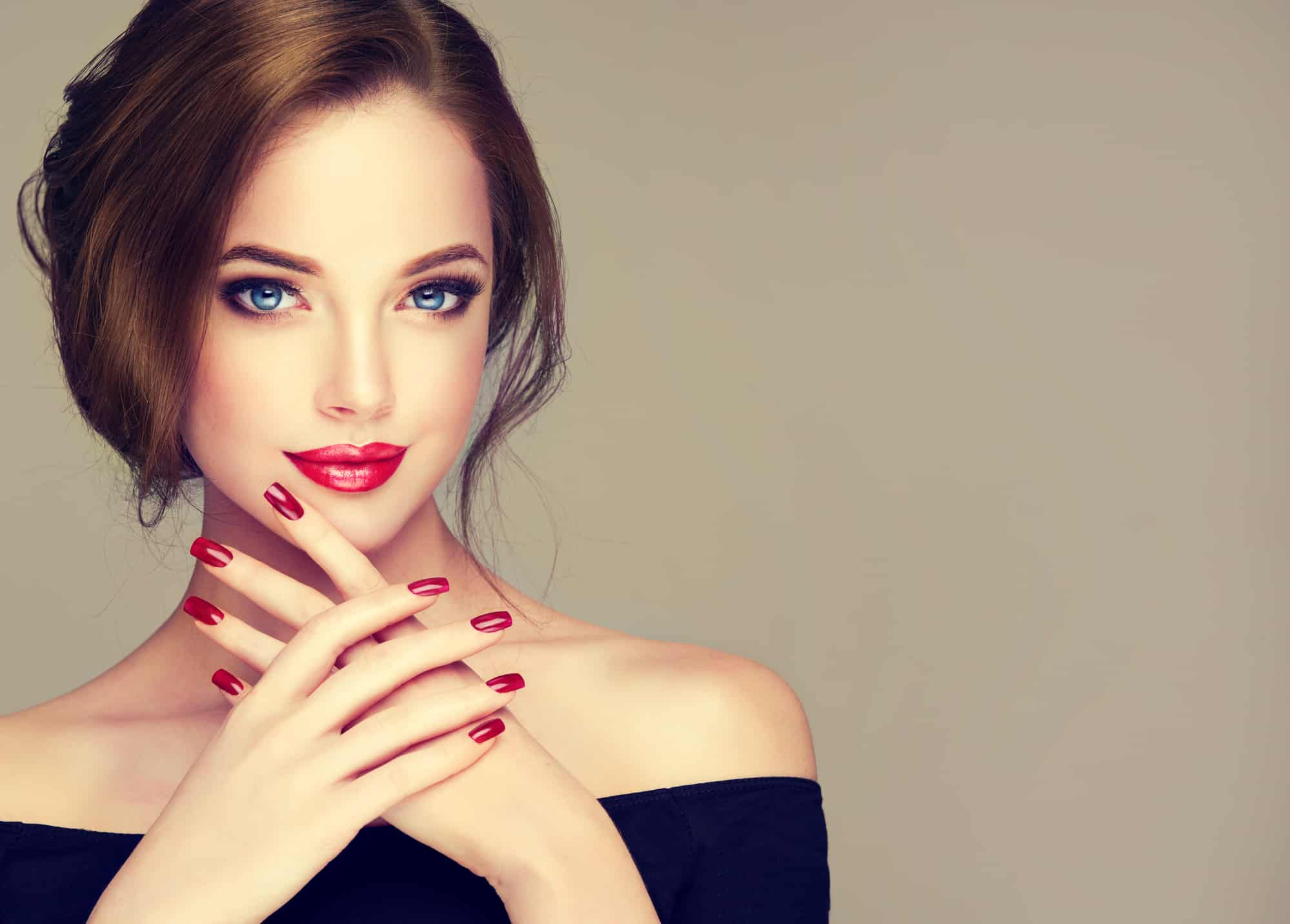 beautiful redhead wearing red 5 free non-toxic nail polish