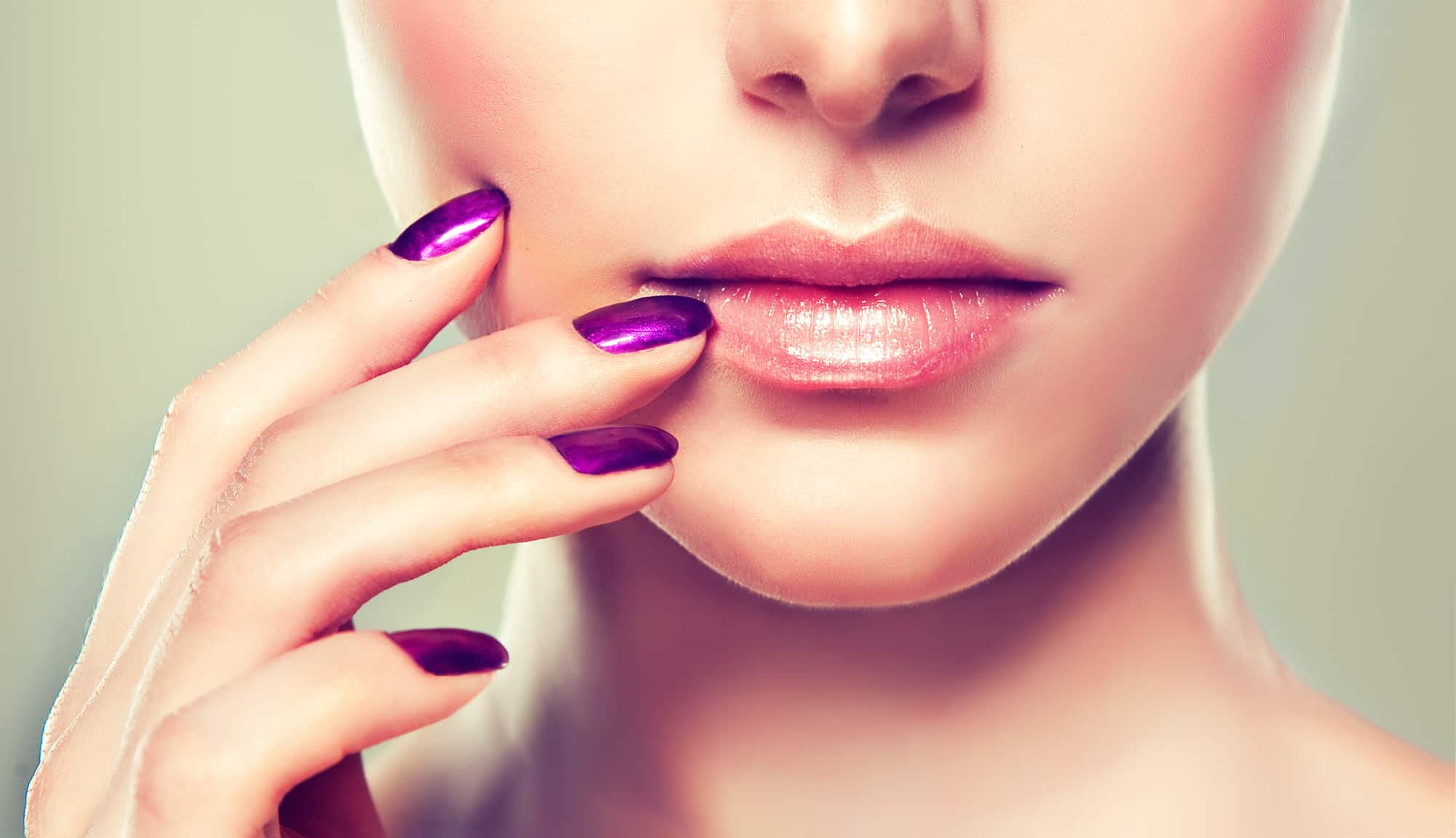 pretty woman with 9 free non-toxic nail polish in purple