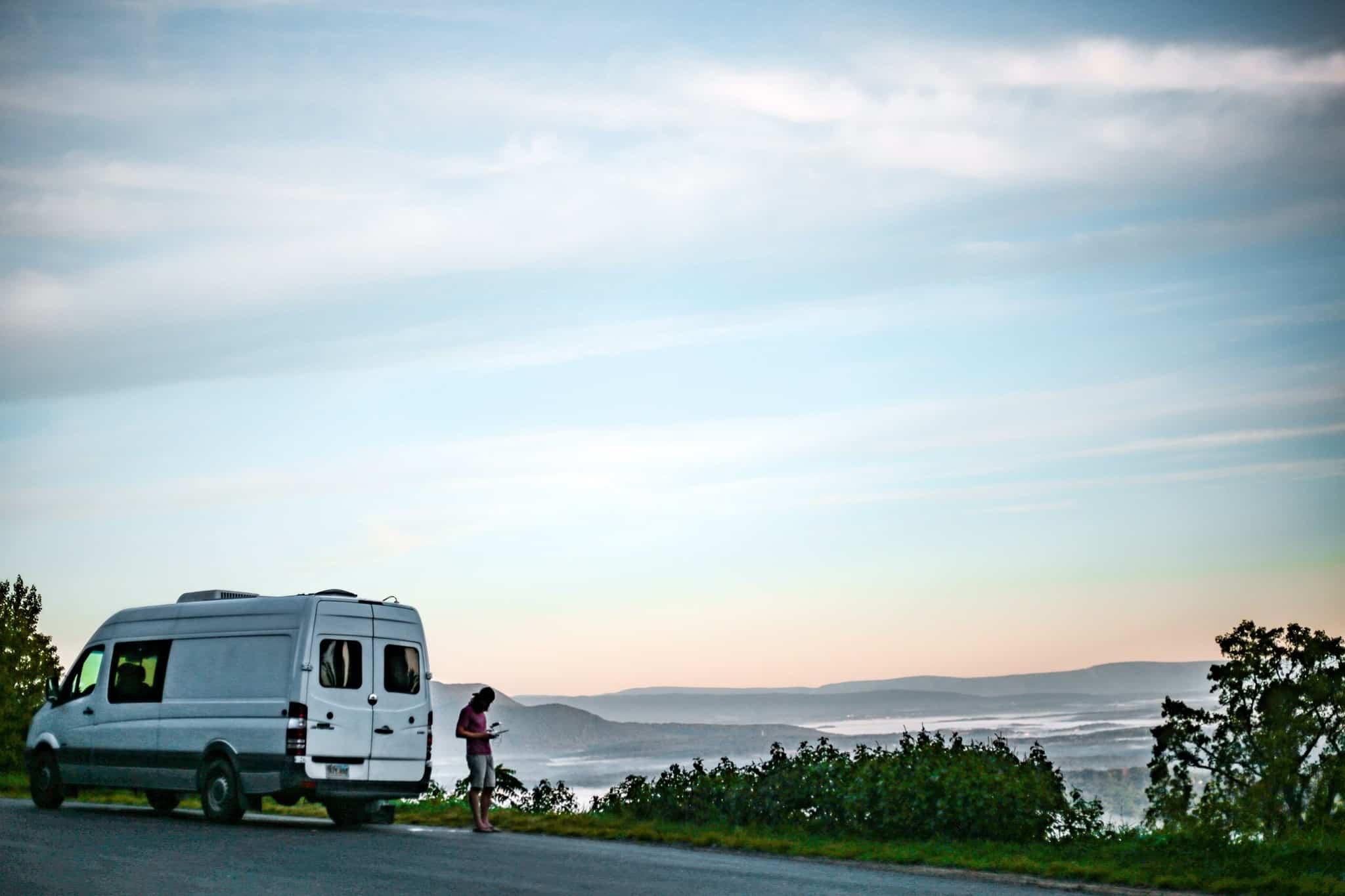 Ashlee Rowland's van by the ocean