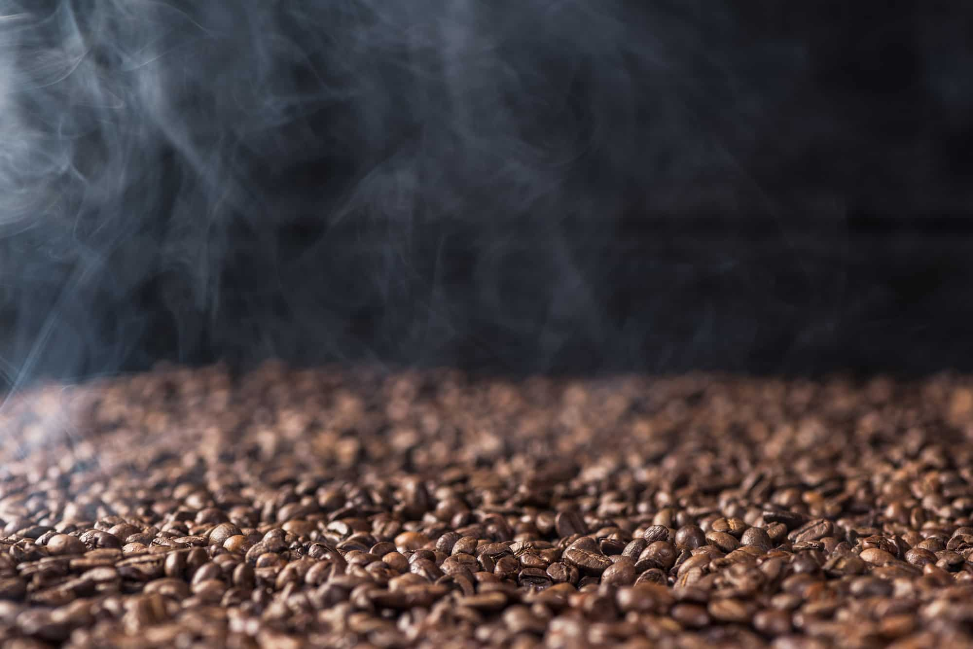 Freshly roasted decaf coffee