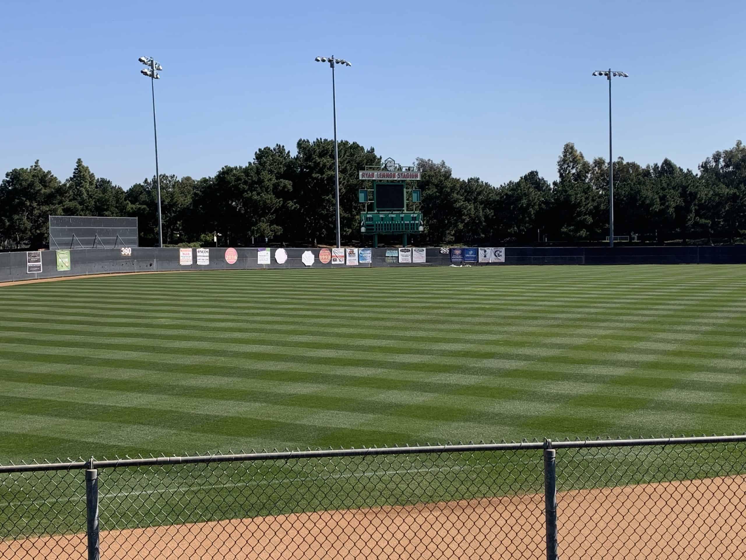 Organic Land Care baseball diamond park in Irvine, CA