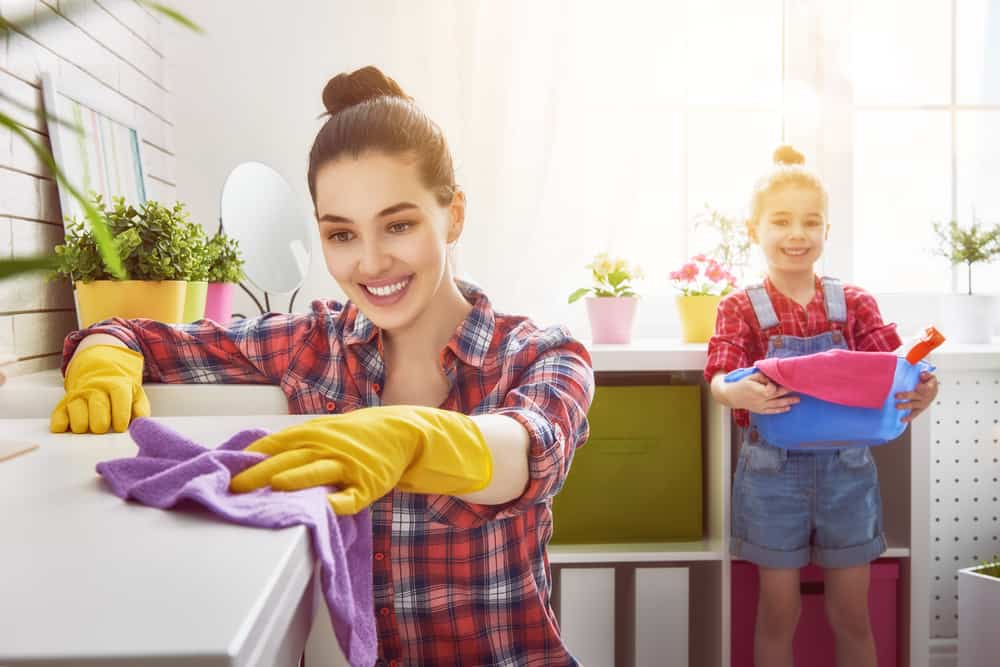 Happy family cleans the room. Mother and daughter do the cleaning in the house. A young woman and a little child girl dusting.