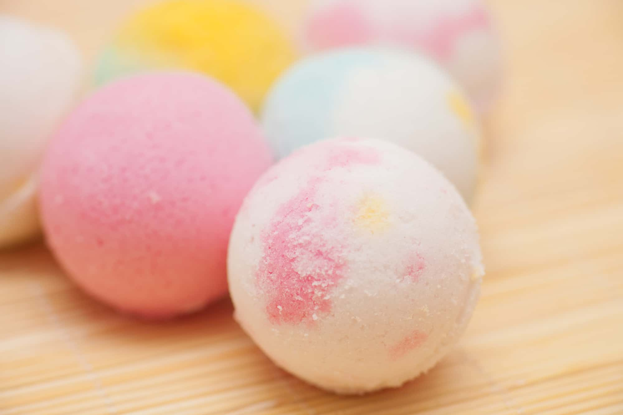 pink and white Bath Bombs