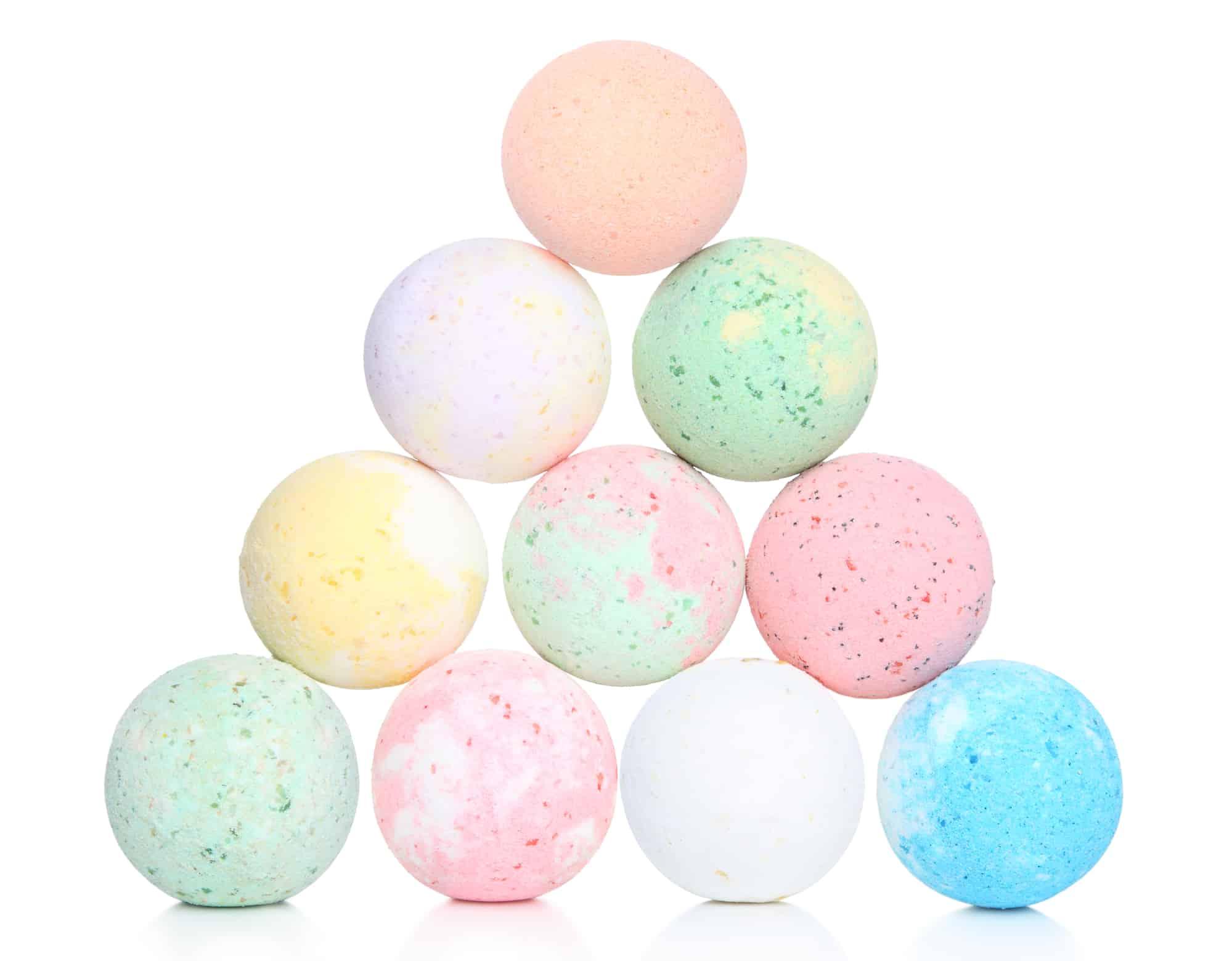 Pyramid of multi colored bath bombs