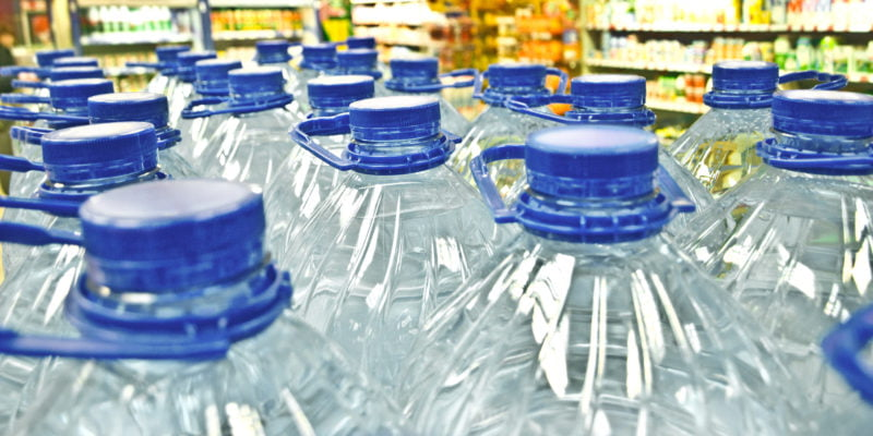 row of potable bottled water