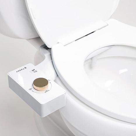 hello tushy bidet on white toilet