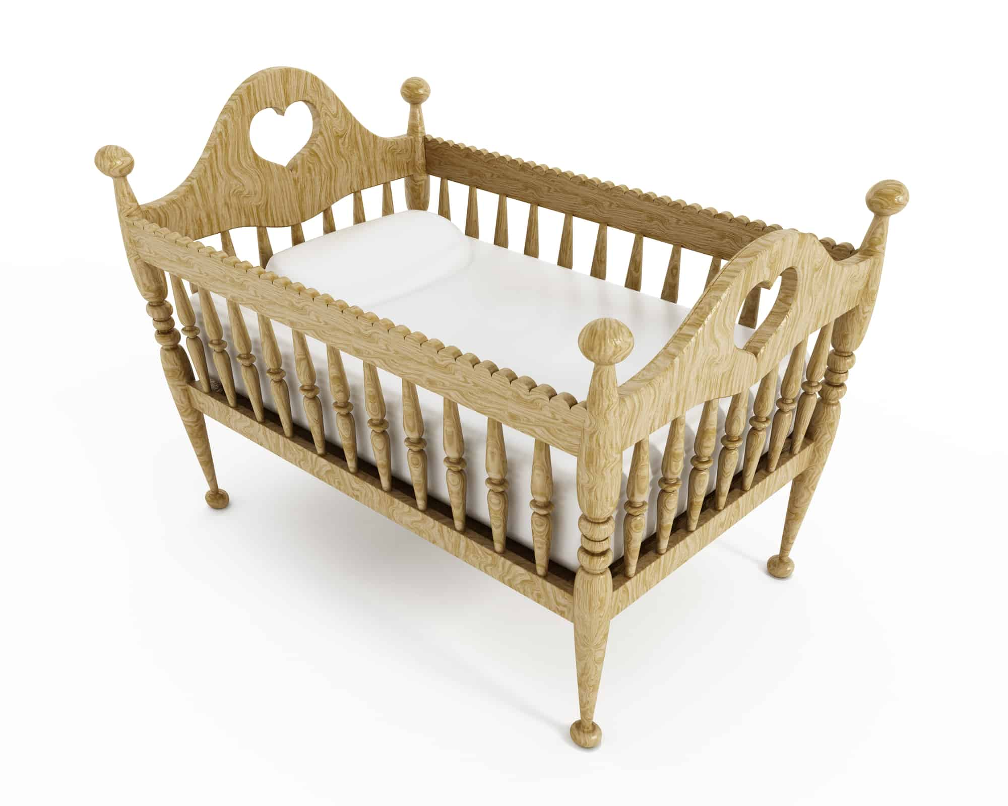 Baby crib isolated on white background