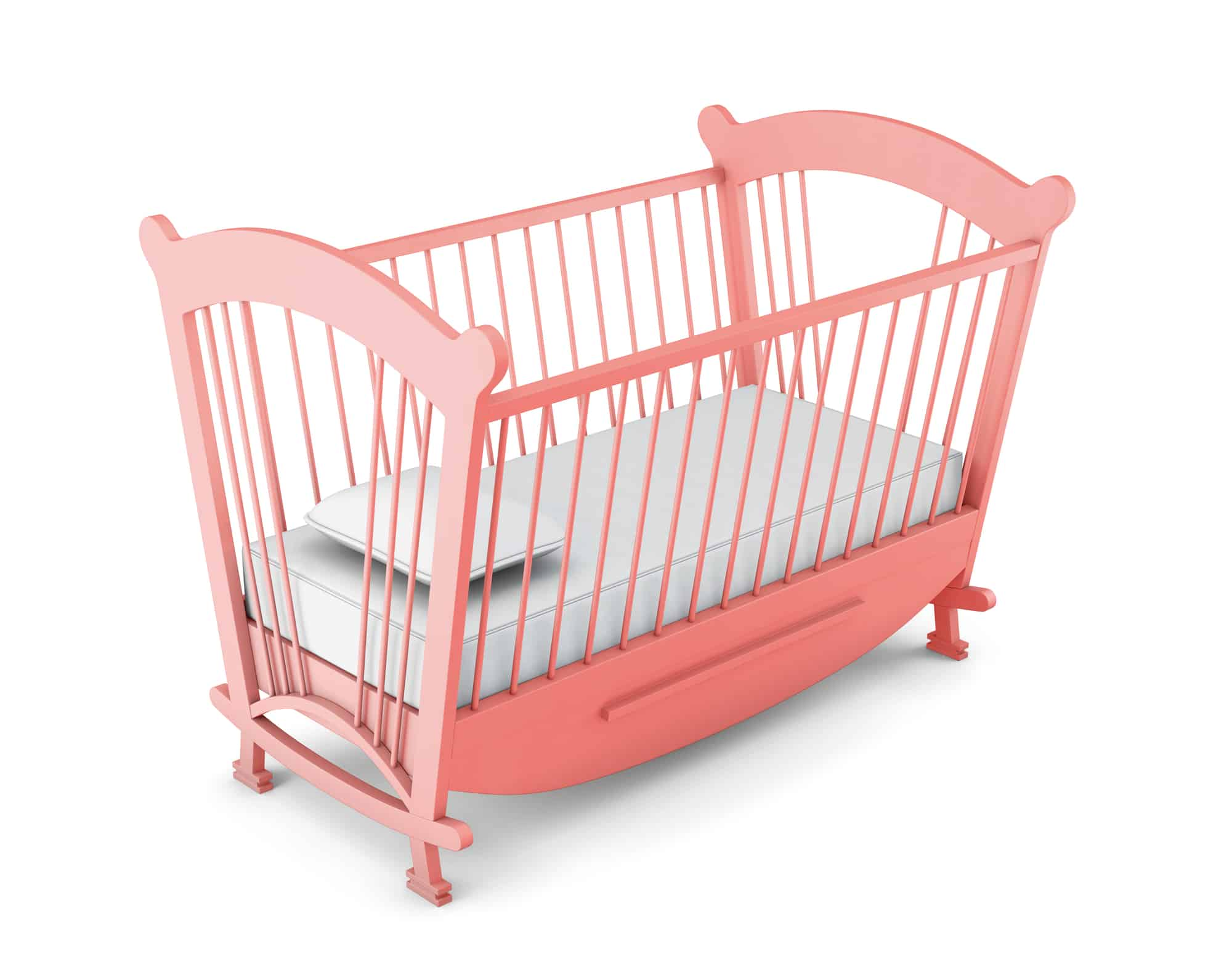 Pink cot bed isolated on white background