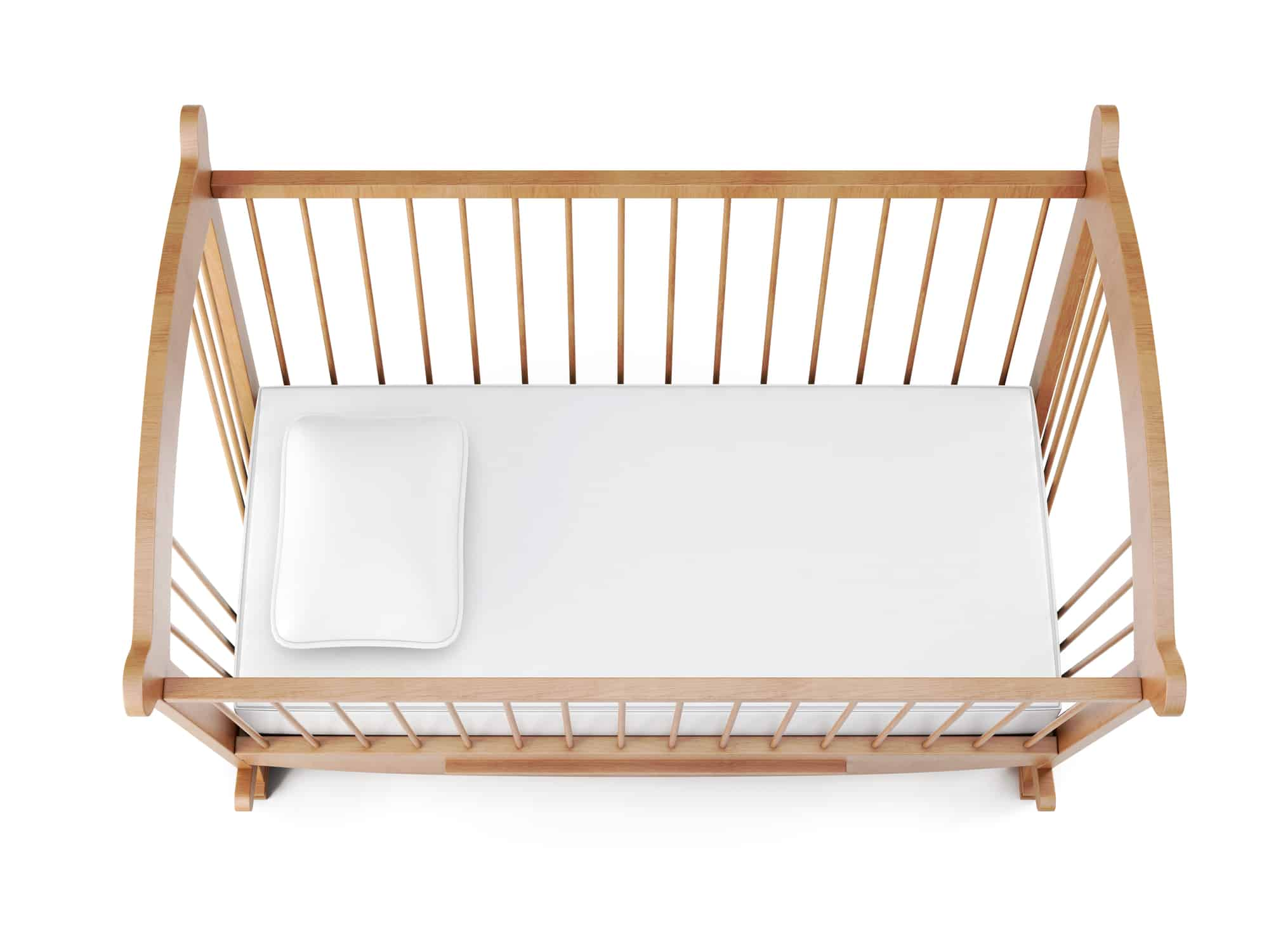 Wooden crib isolated on white background
