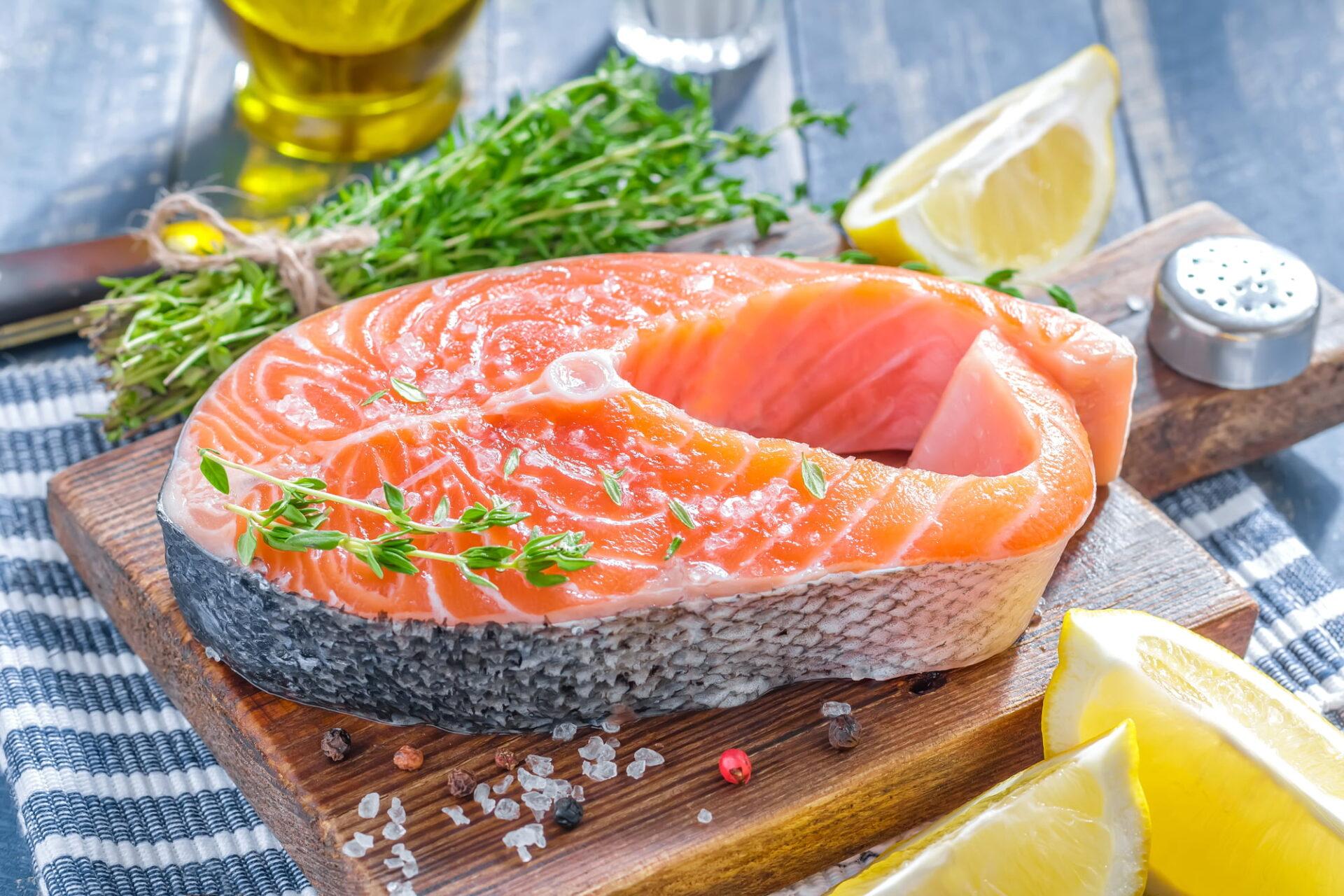 farmed atlantic salmon steak