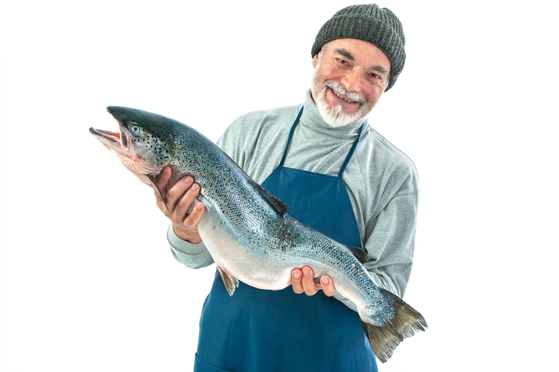 Fisher holding a big atlantic salmon fish isolated on white background