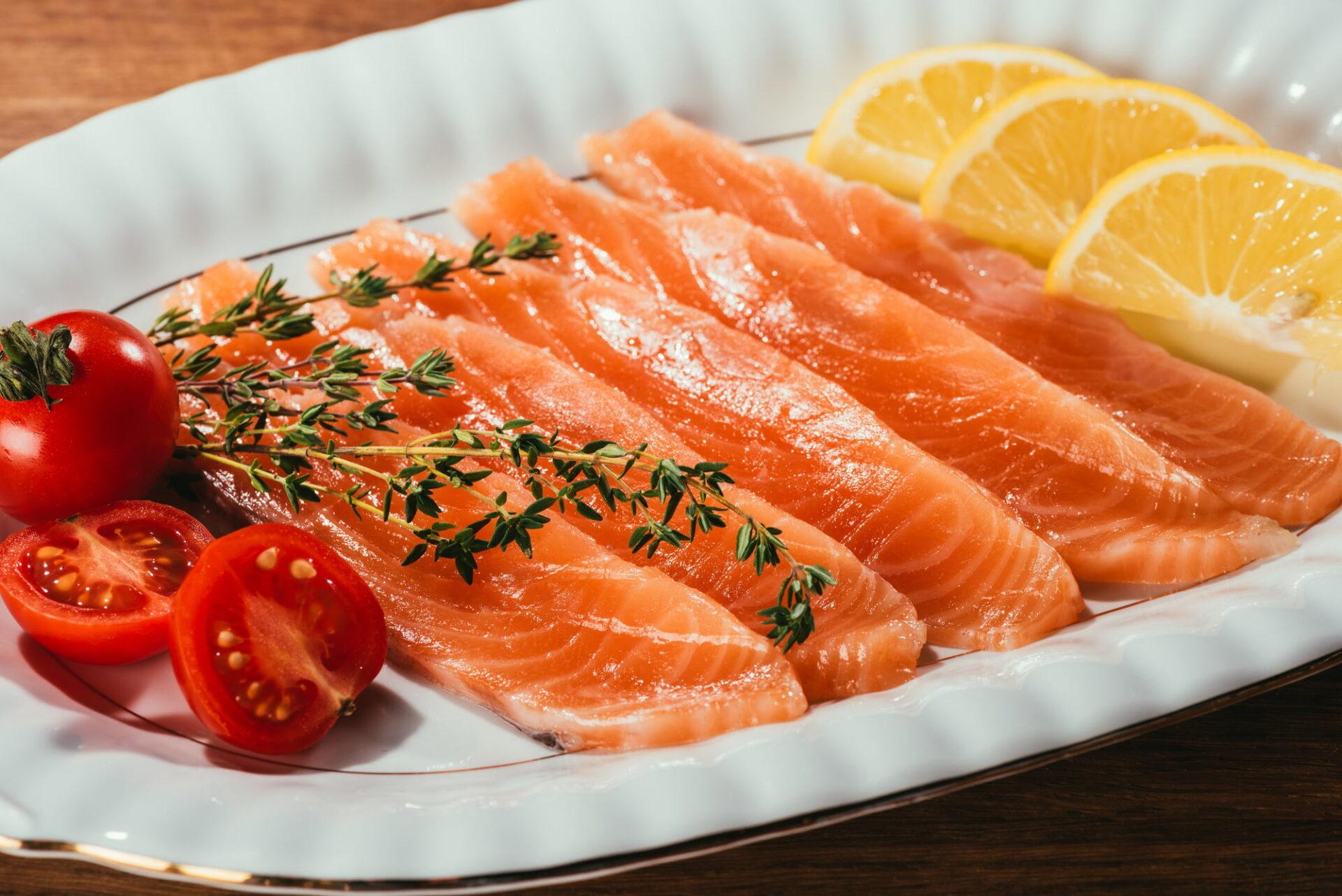 gravalax salmon on a white plate