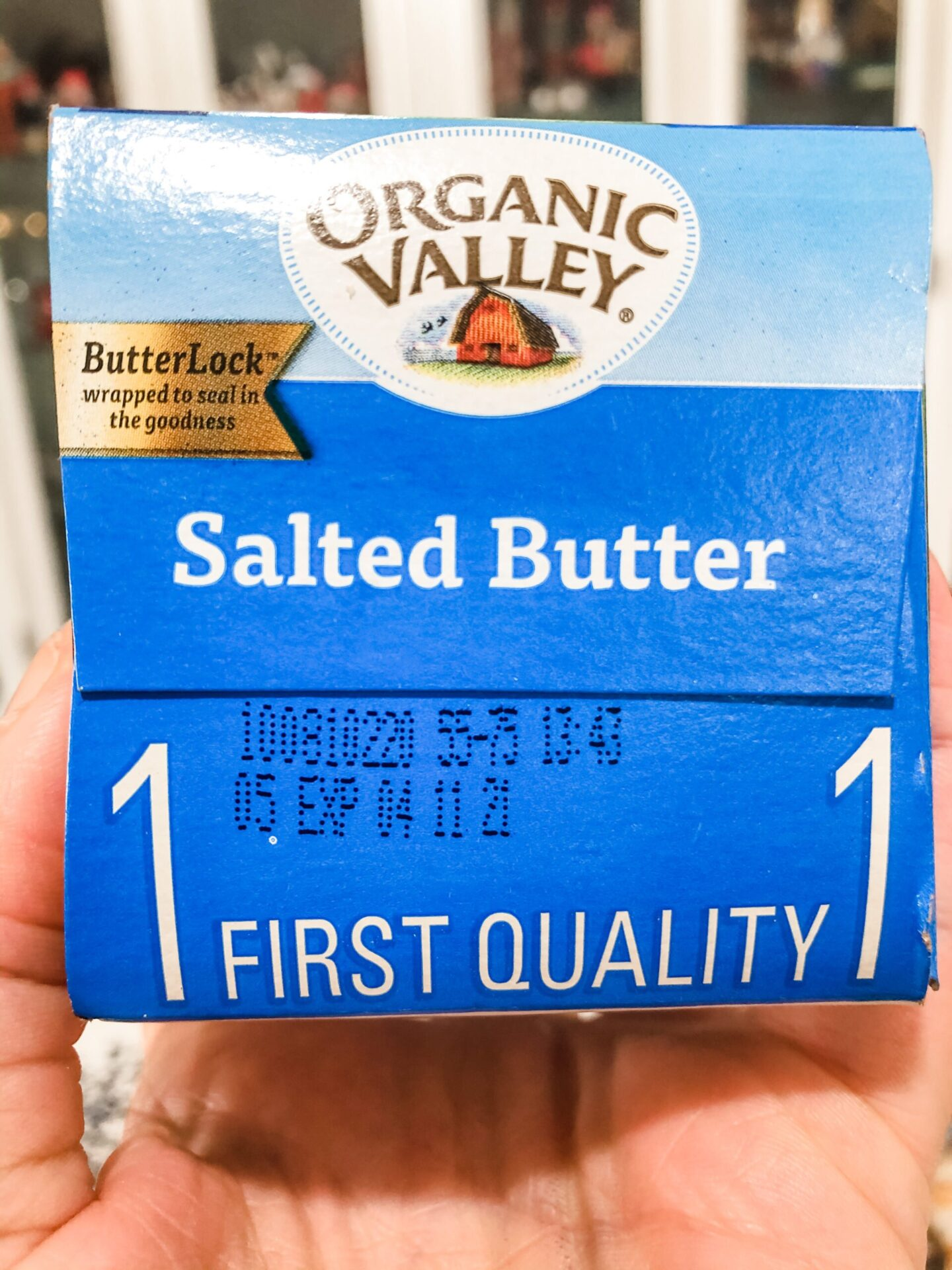 Organic valley butter closeup