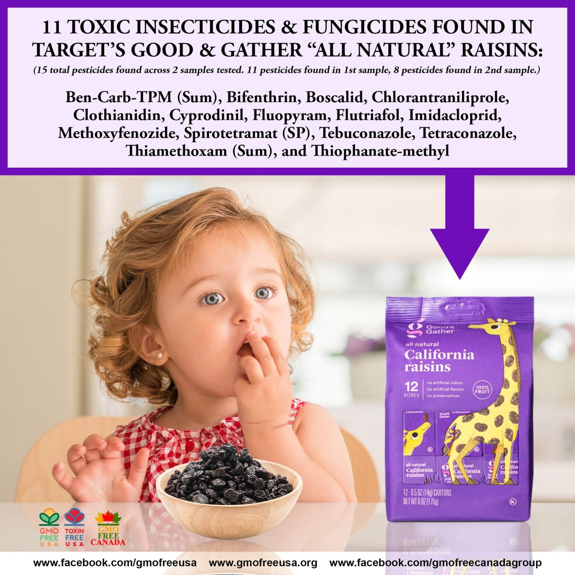 Image meme with young girl eating target raisins