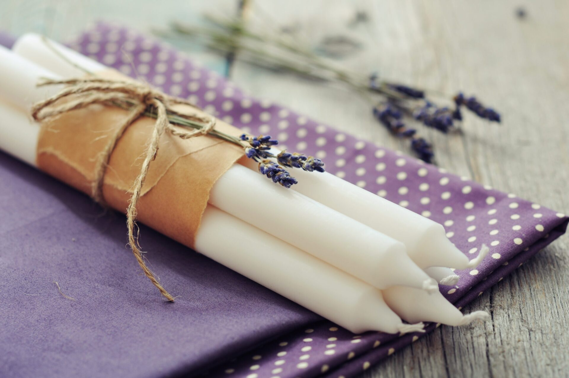 lavender white candles