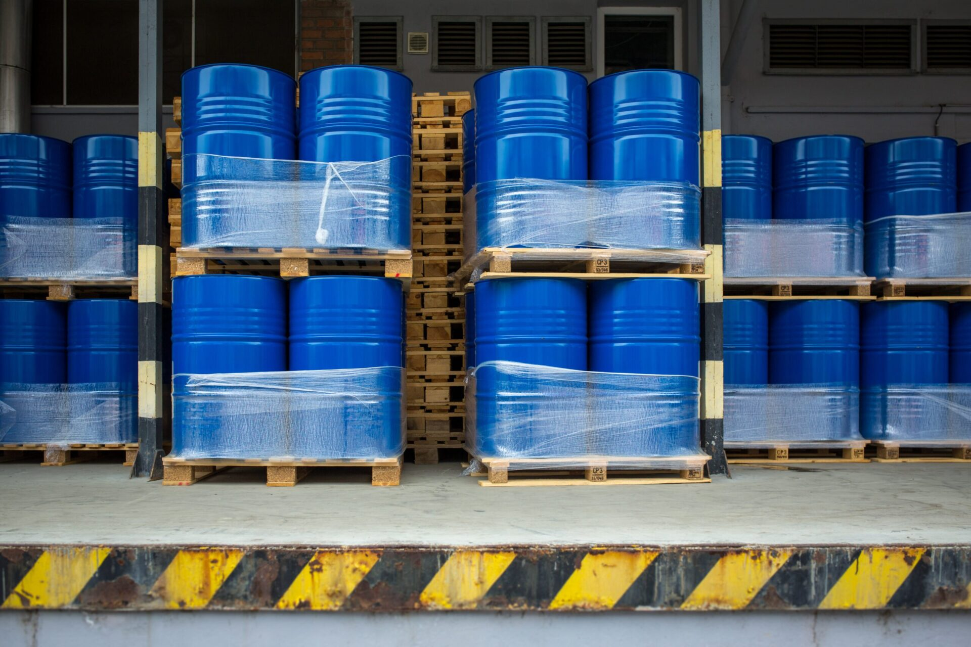 Toxic waste/chemicals stored in barrels at a plant - cans with chemicals, industry oil barrels, chemical tank, hazardous waste, chemical reagents,