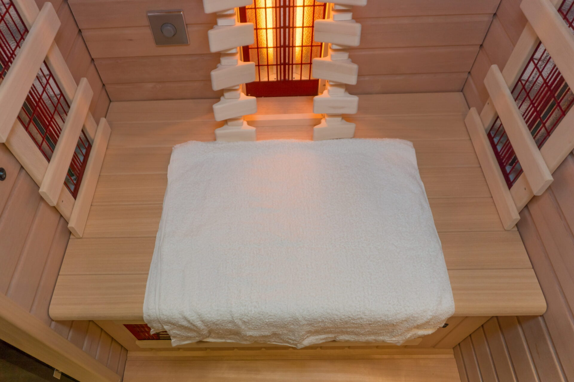 The inside of an infrared sauna