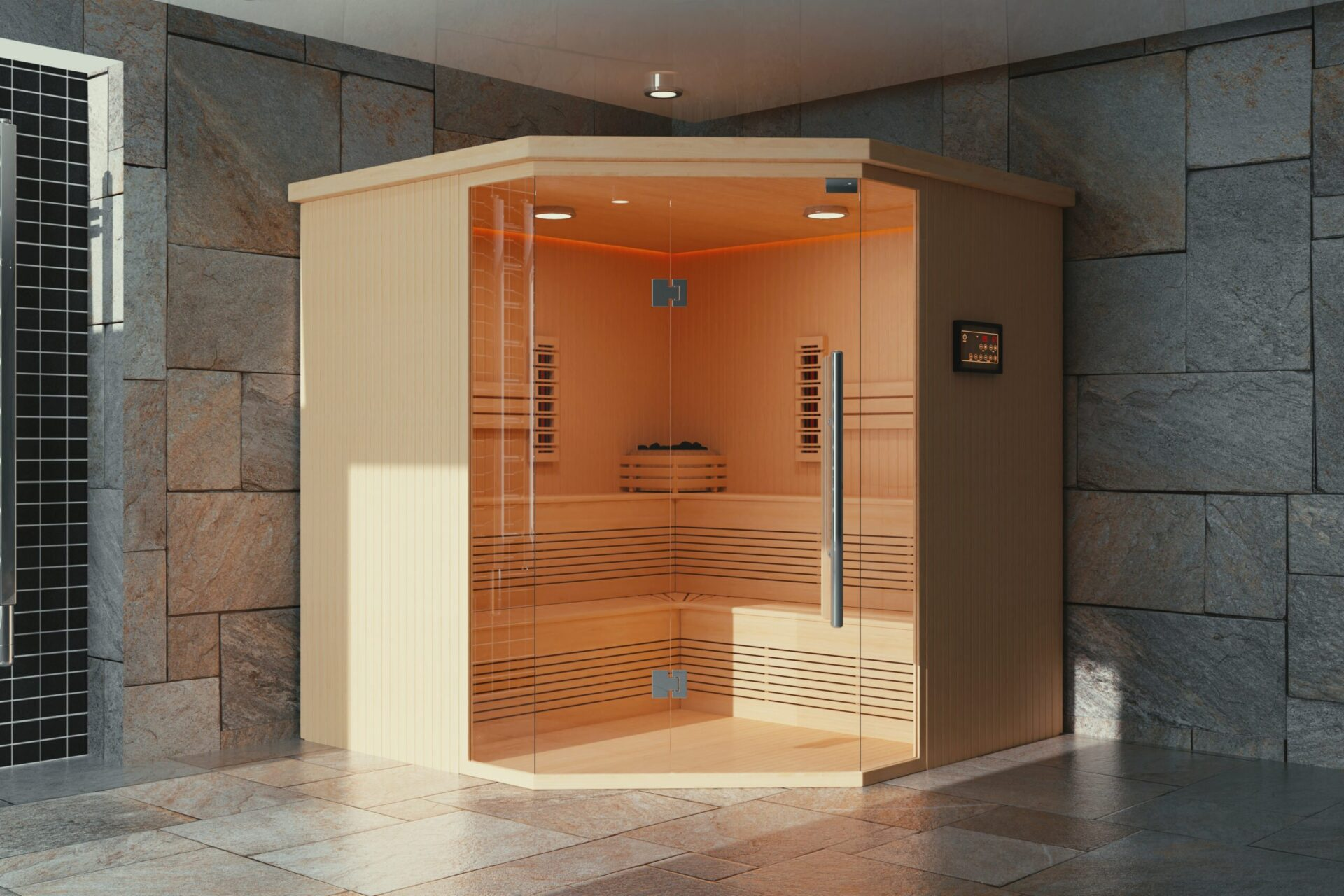 Classic Wooden Infrarered Finnish Sauna Cabin in Bathroom Interior extreme closeup
