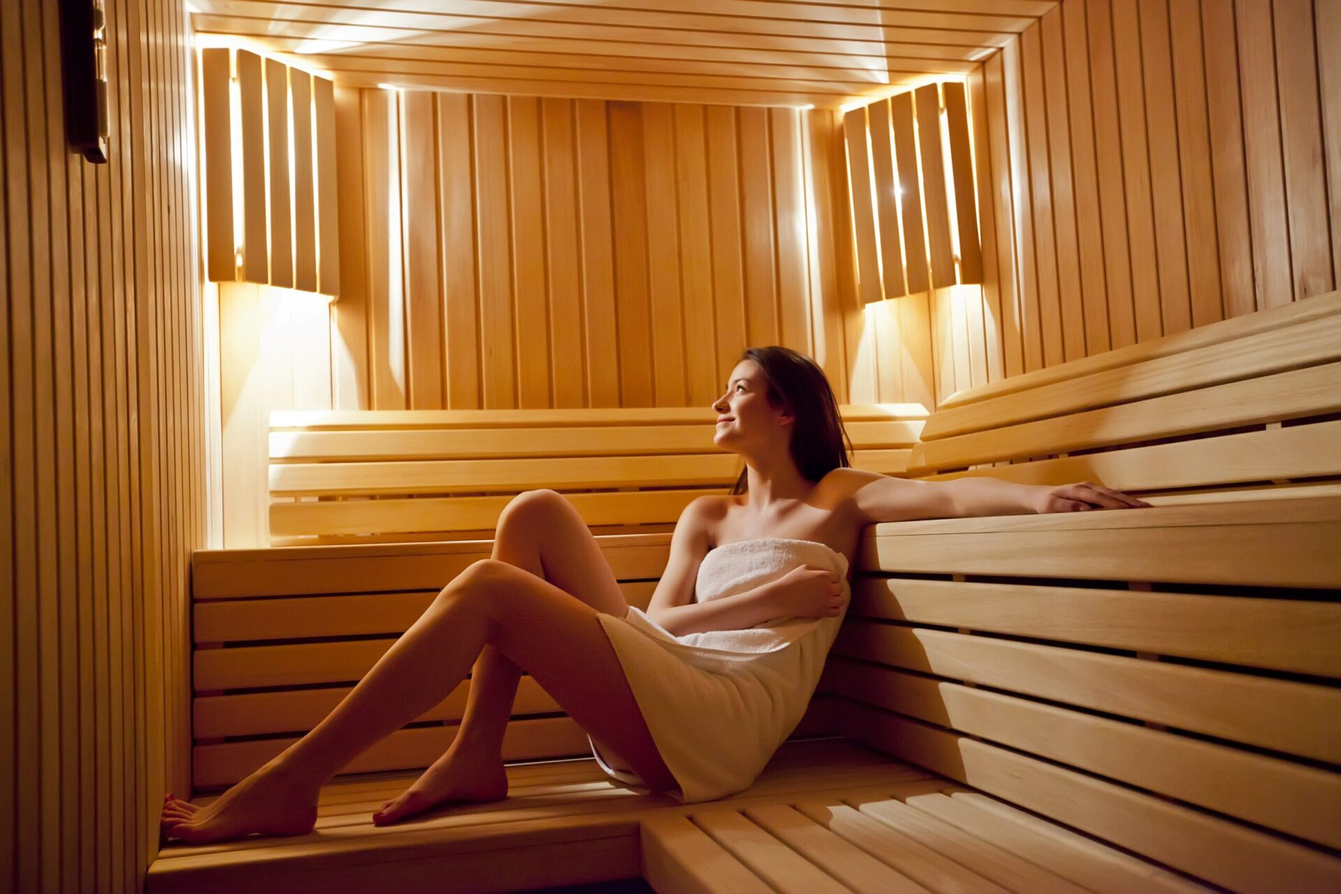Burnette relaxing in sauna