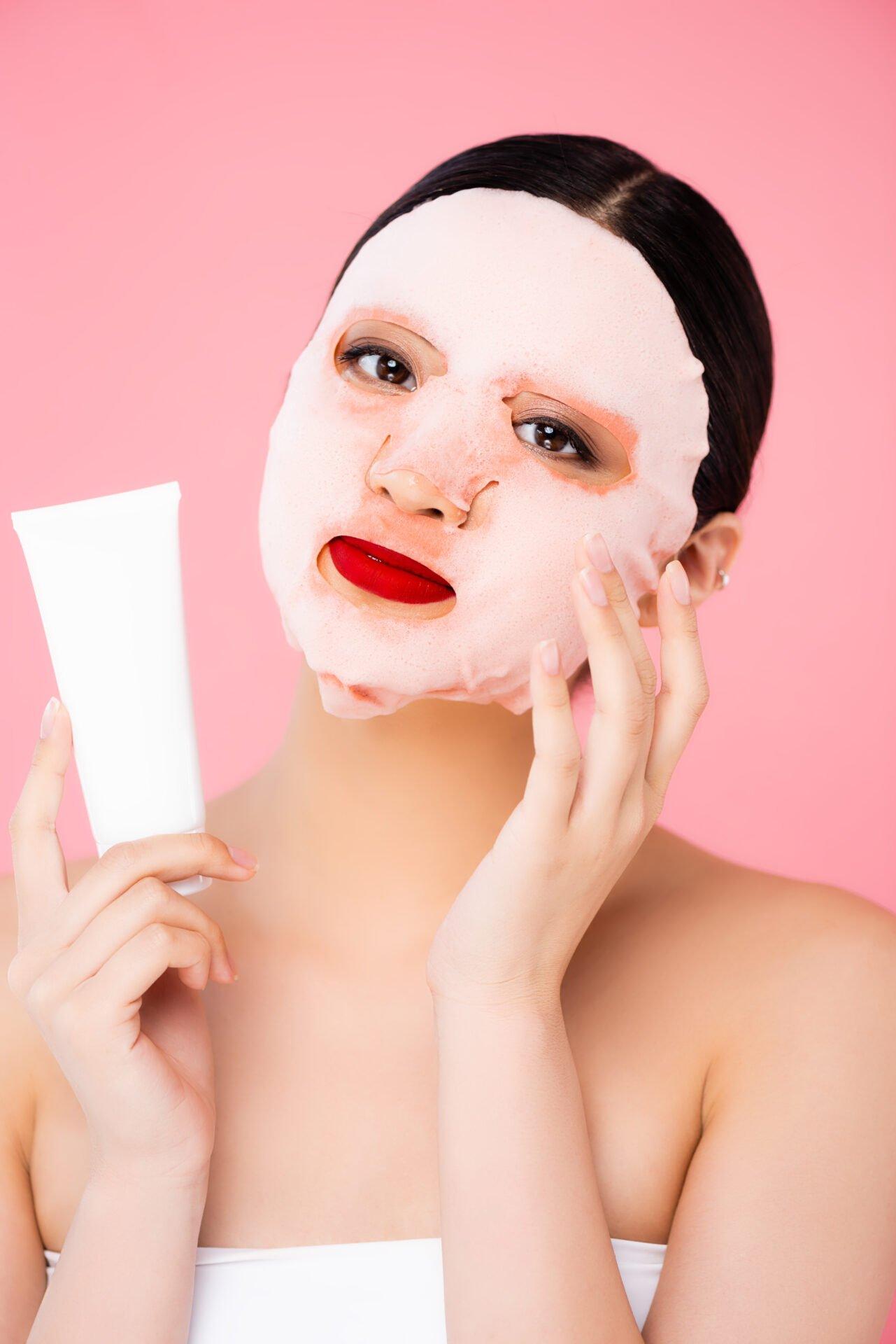 Korean woman winning a non-toxic peel off mask